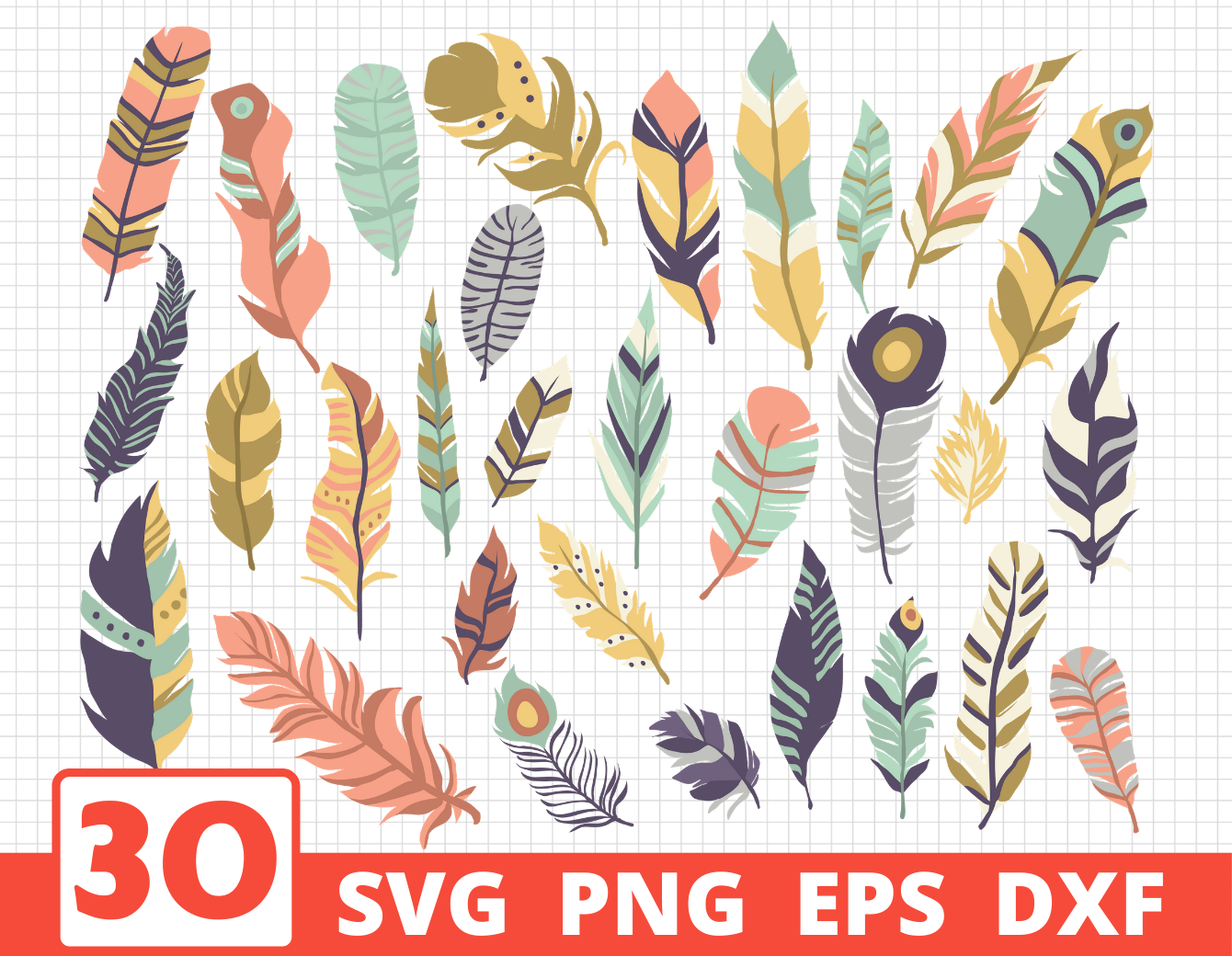 Feathers Svg Bundle Colored Silhouette Sketch By Svgocean