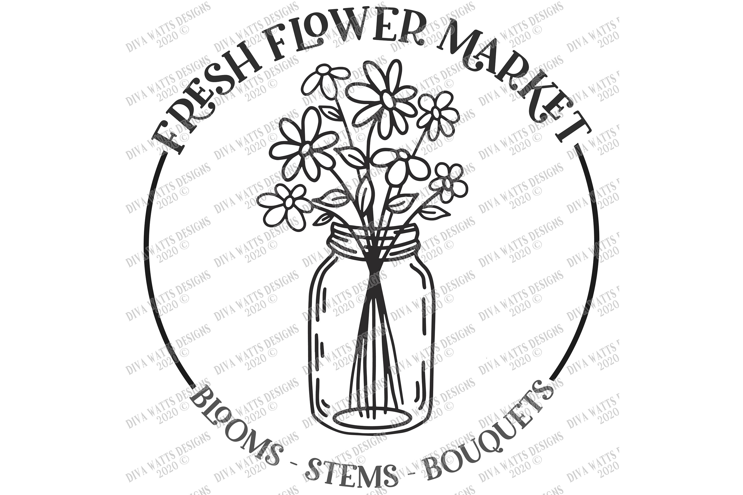 Fresh Flower Market Blooms Stems Bouquets Round Sign Cut File By