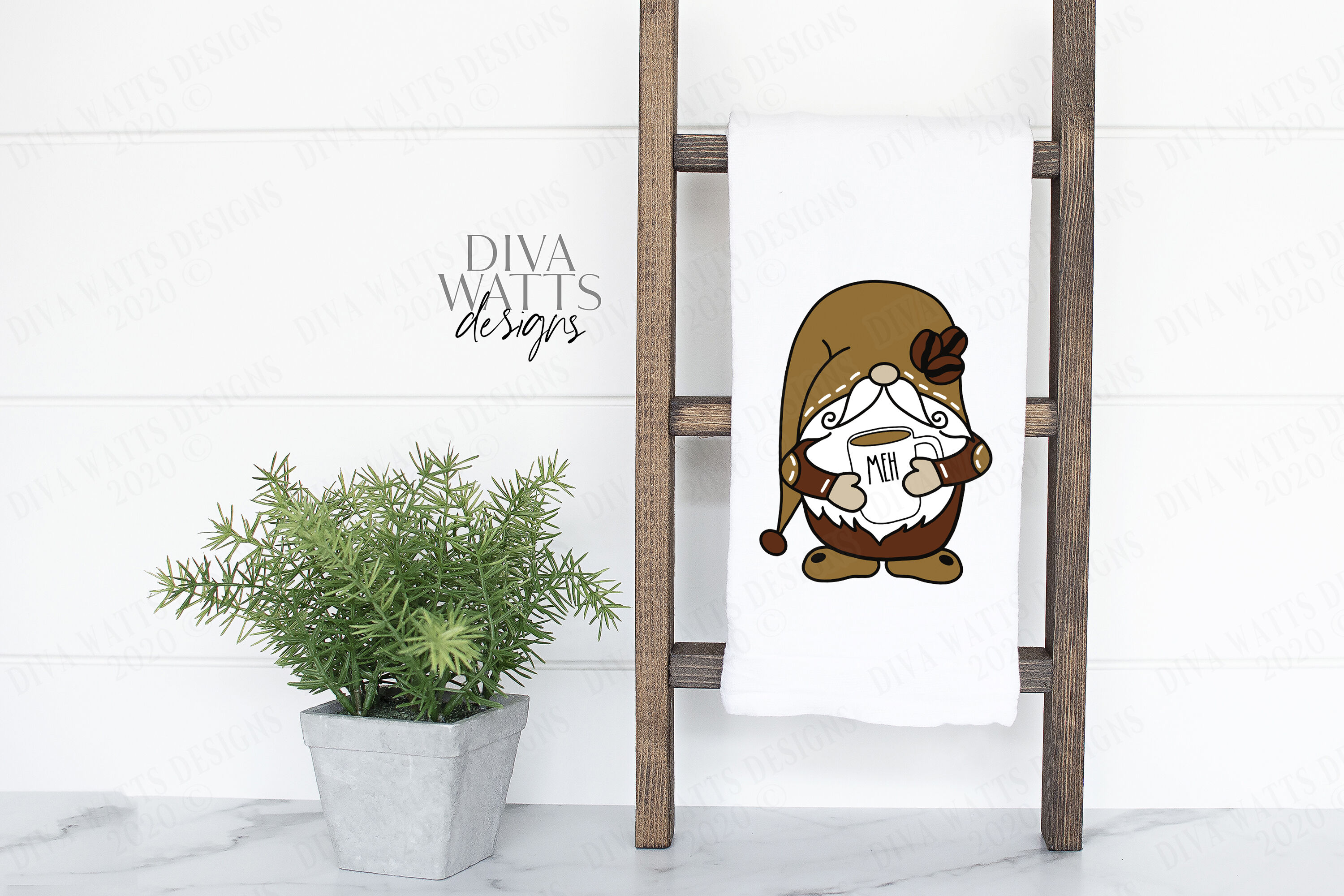 Farmhouse Coffee Gnome With Mug Cutting File Svg Dxf By Diva Watts