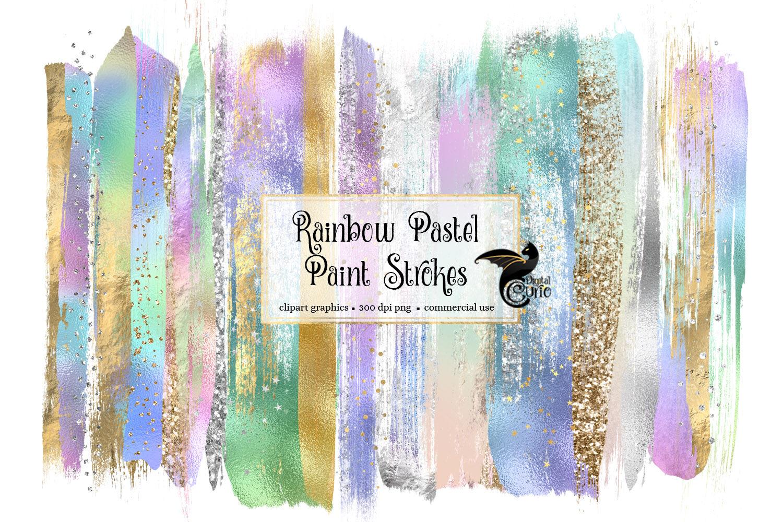Rainbow Pastel Brush Strokes By Digital Curio Thehungryjpeg Com