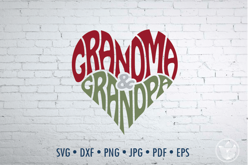 Grandma Grandpa Word Art Heart Shape Svg Dxf Eps Png Jpg By