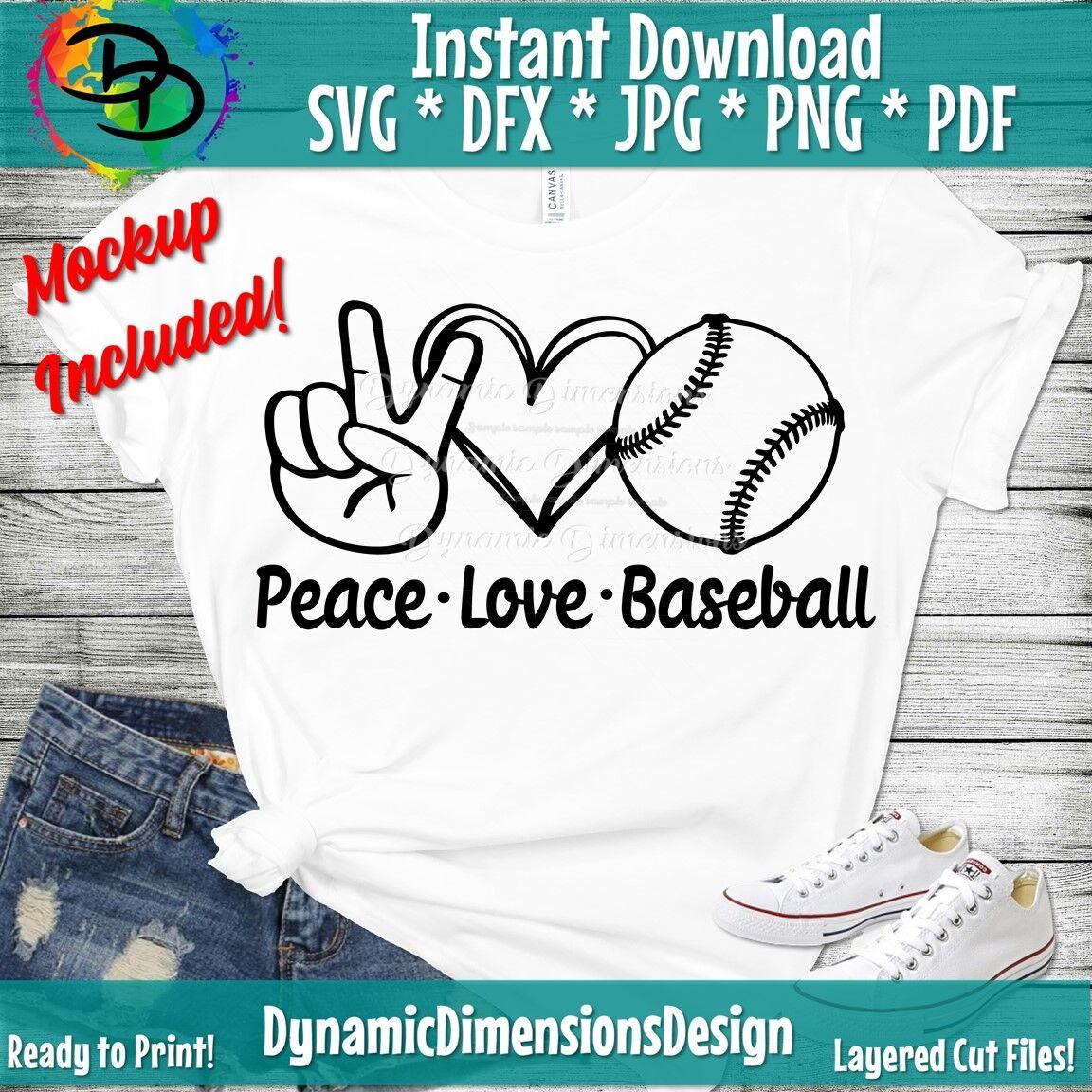 Peace Love Baseball Svg Baseball Png Baseball Shirt Baseball