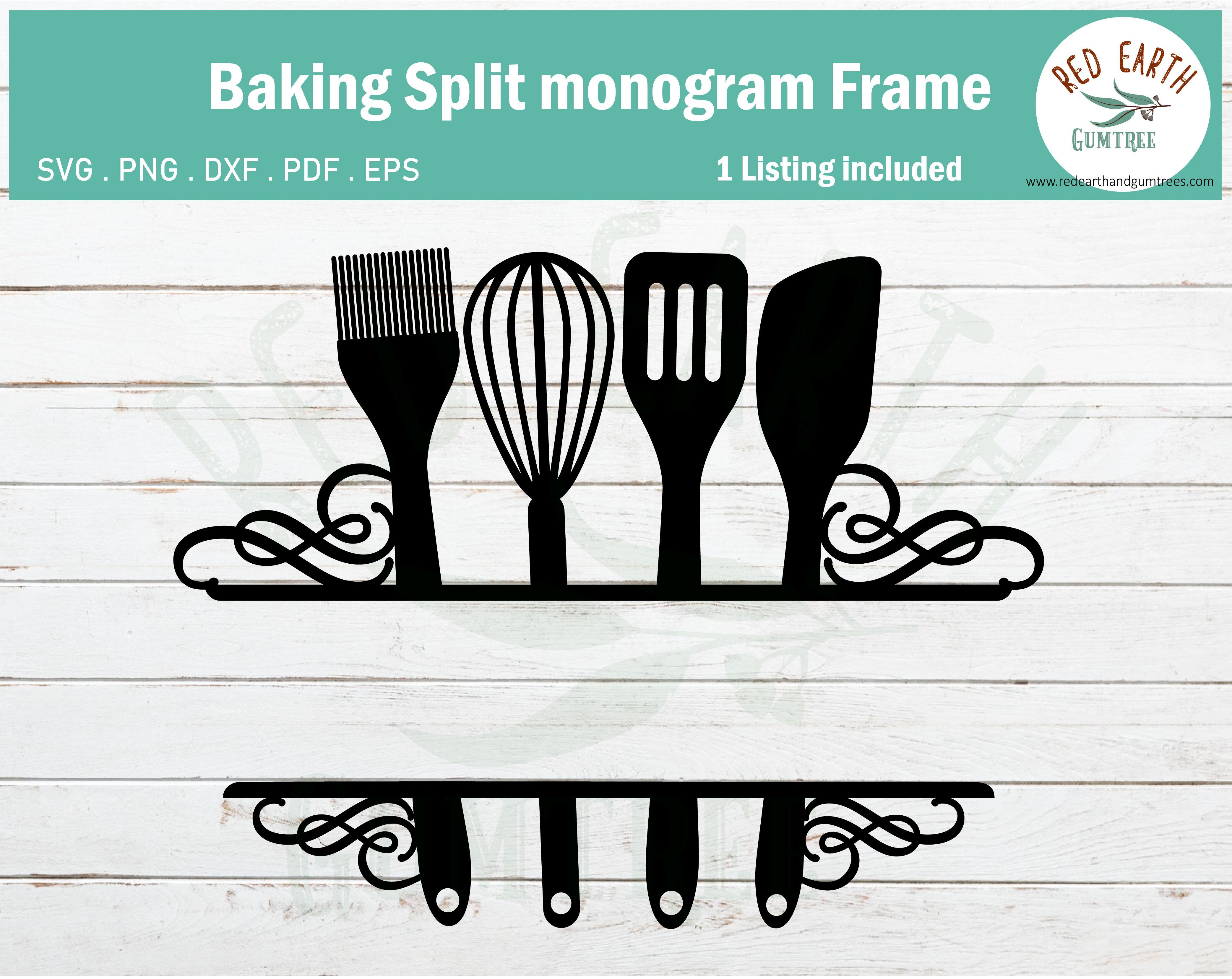 Swirly Baking Kitchen Split Monogram Frame Svg Eps Pdf Dxf Png By