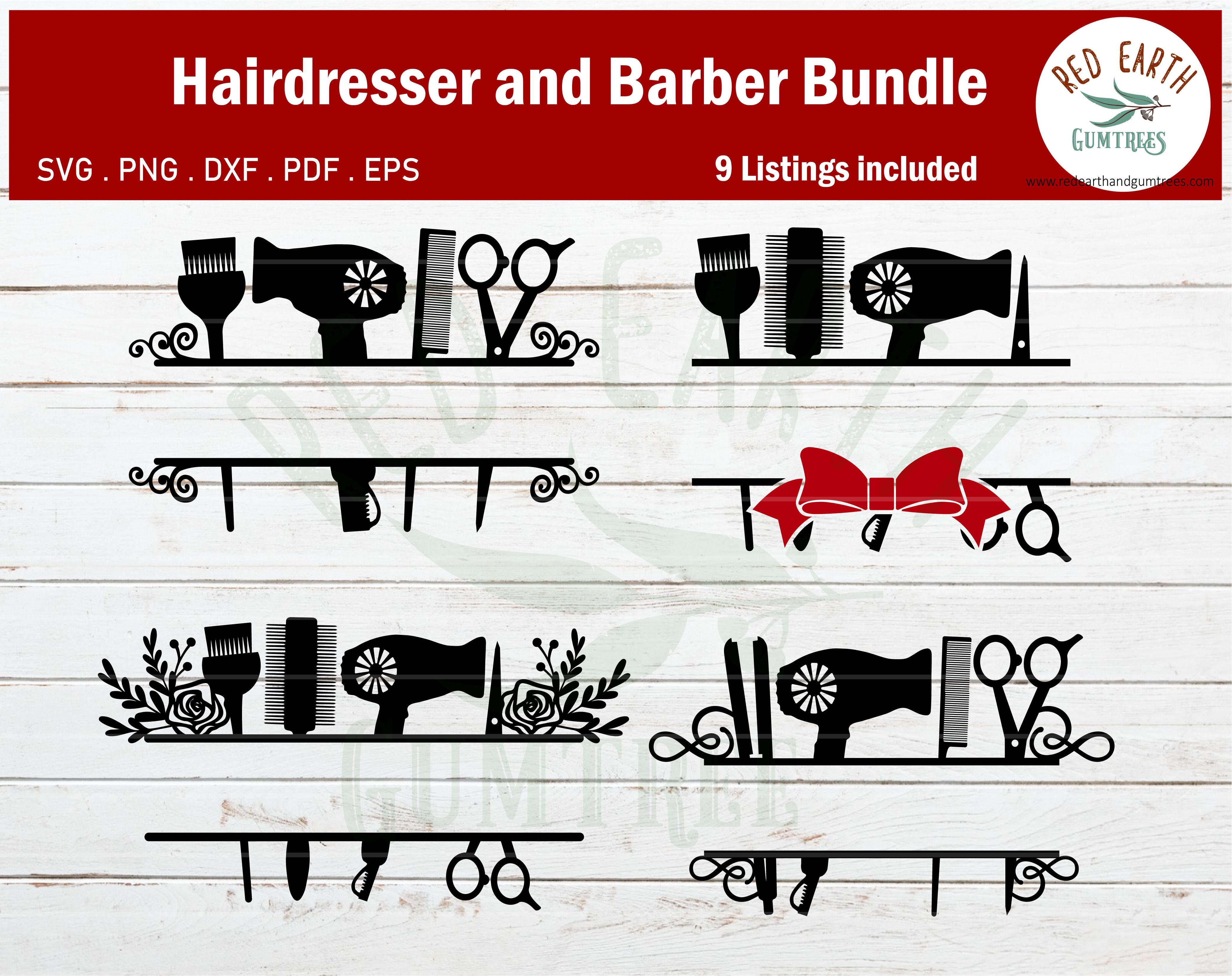 Hair Salon Hair Dresser Barber Monogram Frame Bundle Svg Eps Pdf