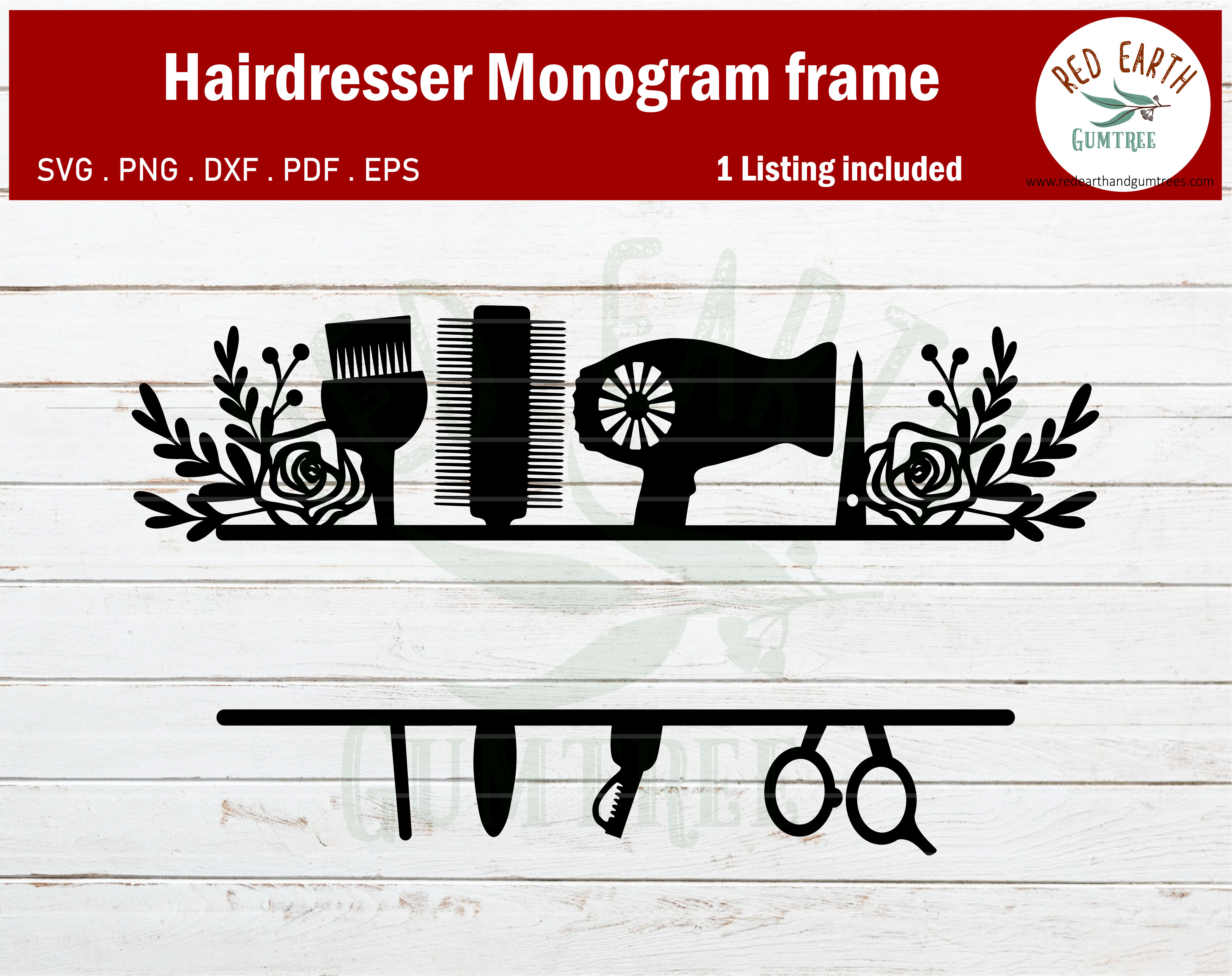 Floral Hairstylist Monogram Frame Bundle Svg Hair Dresser Monogram