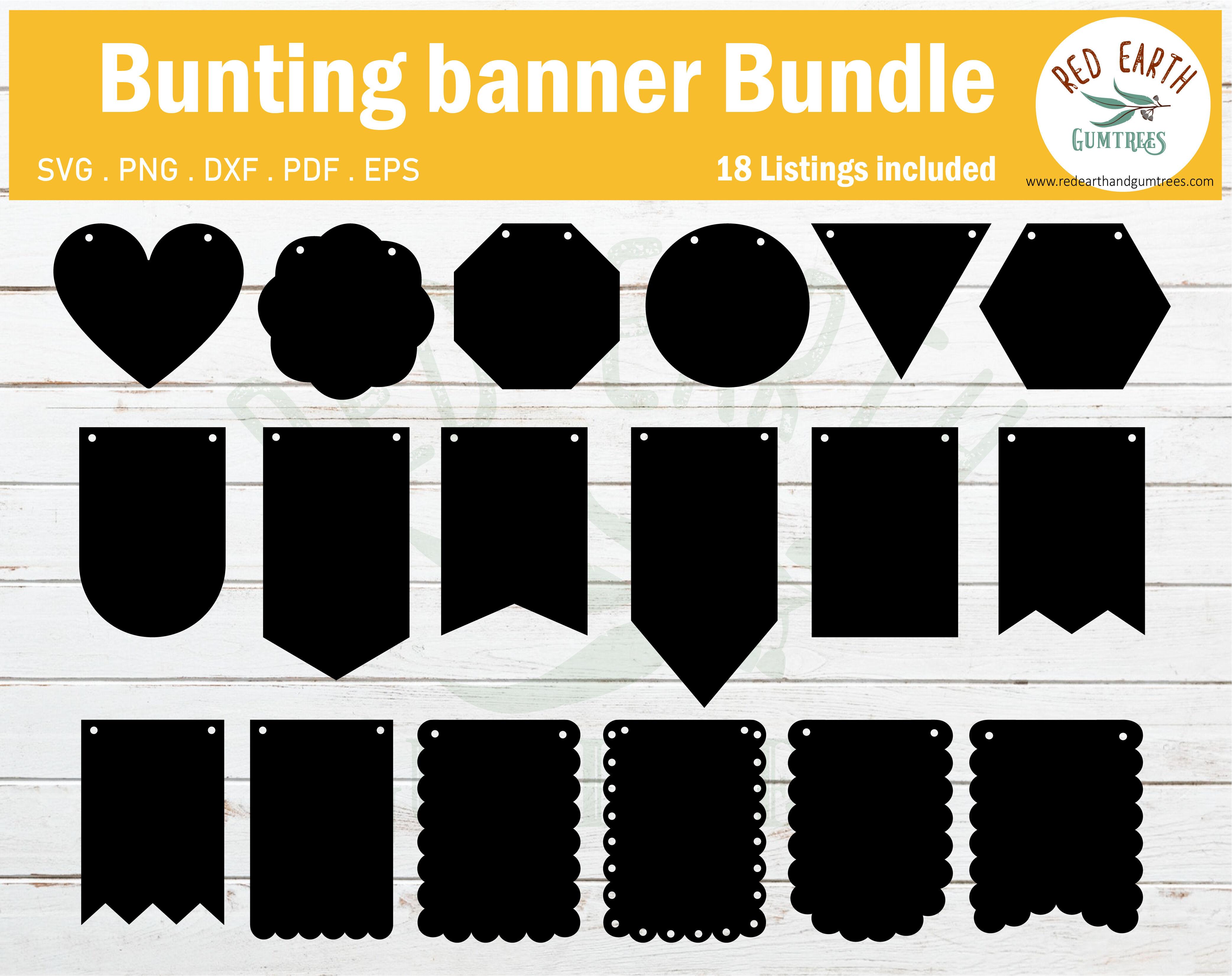 Bunting Banner Bundle Svg Party Bunting Banner Bundle Svg Dxf Pdf