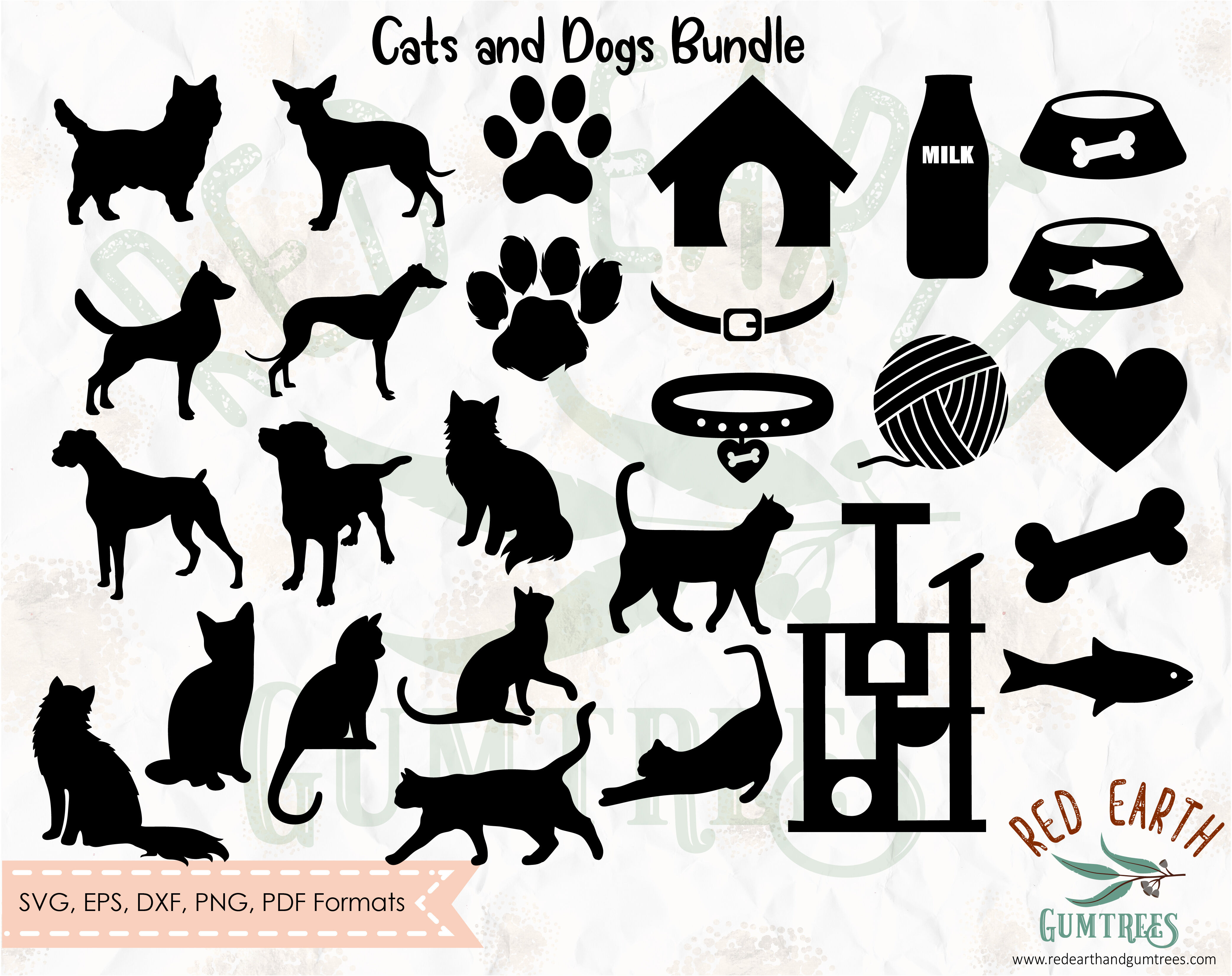 Dog And Cat Elements Bundle Svg Eps Pdf Dxf Png By