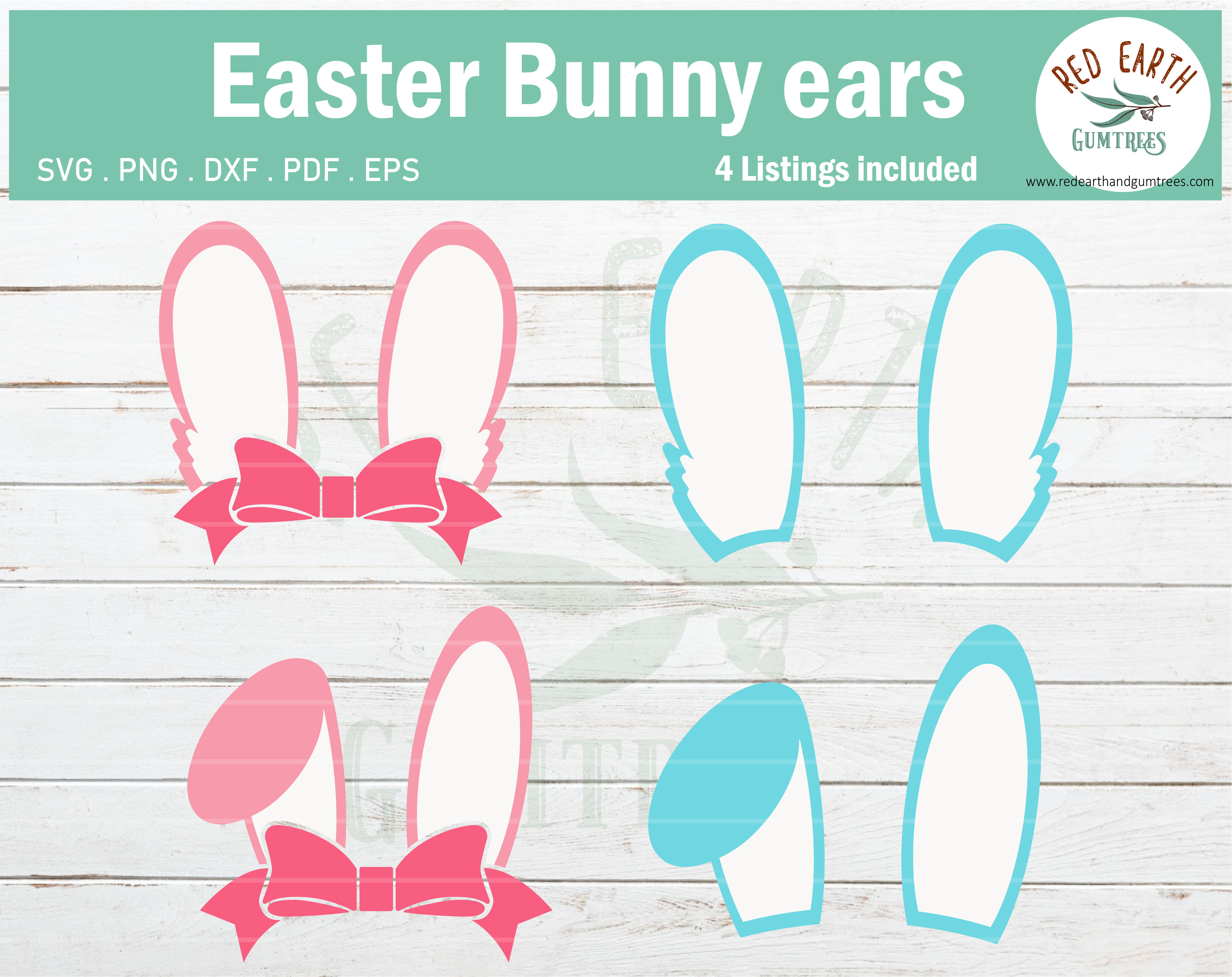 Easter Bunny Ears Svg Easter Rabbit Ears With Bow Svg Png Dxf Eps