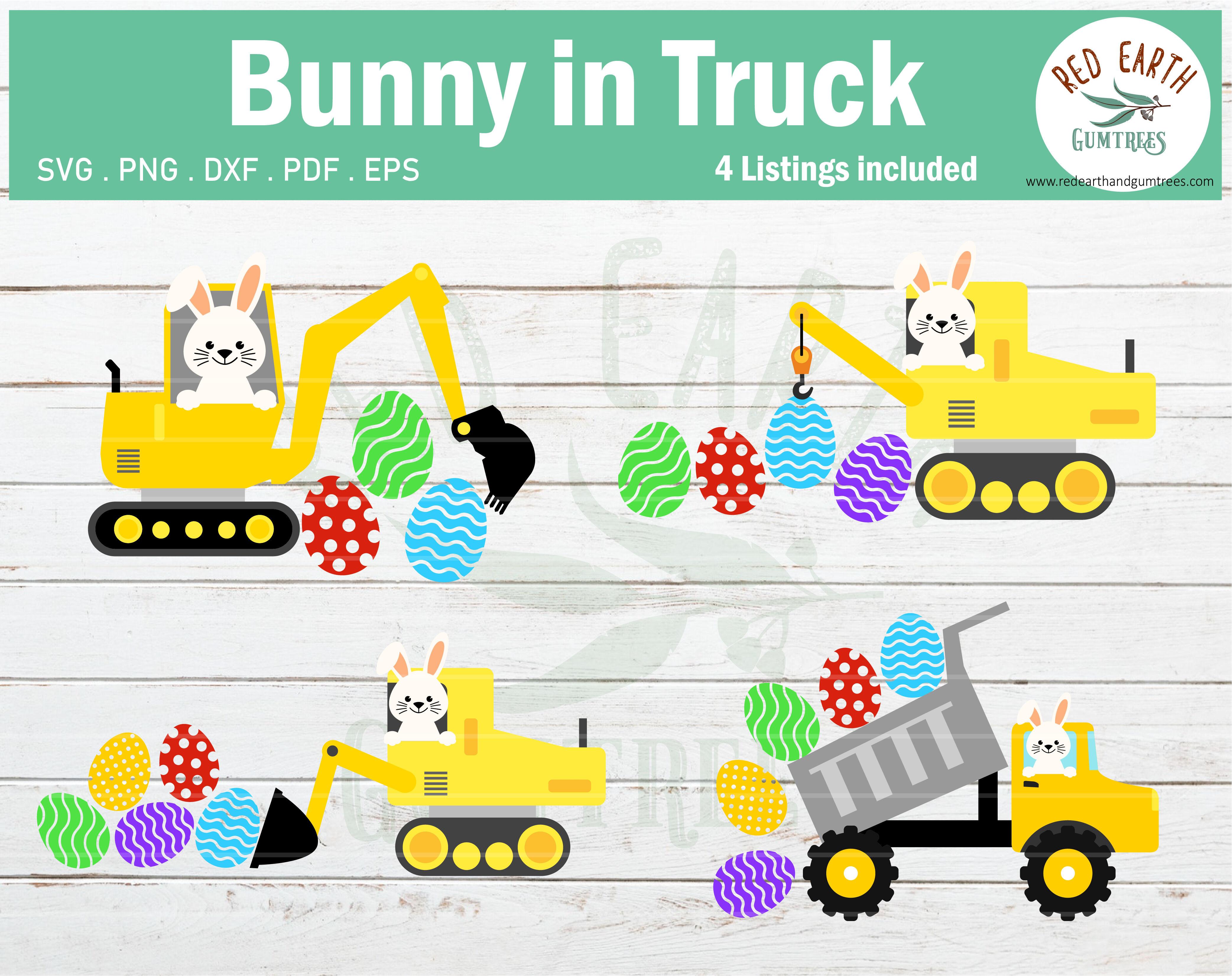 Easter Bunny Truck Bundle Svg Easter Rabbit Construction Svg Dxf