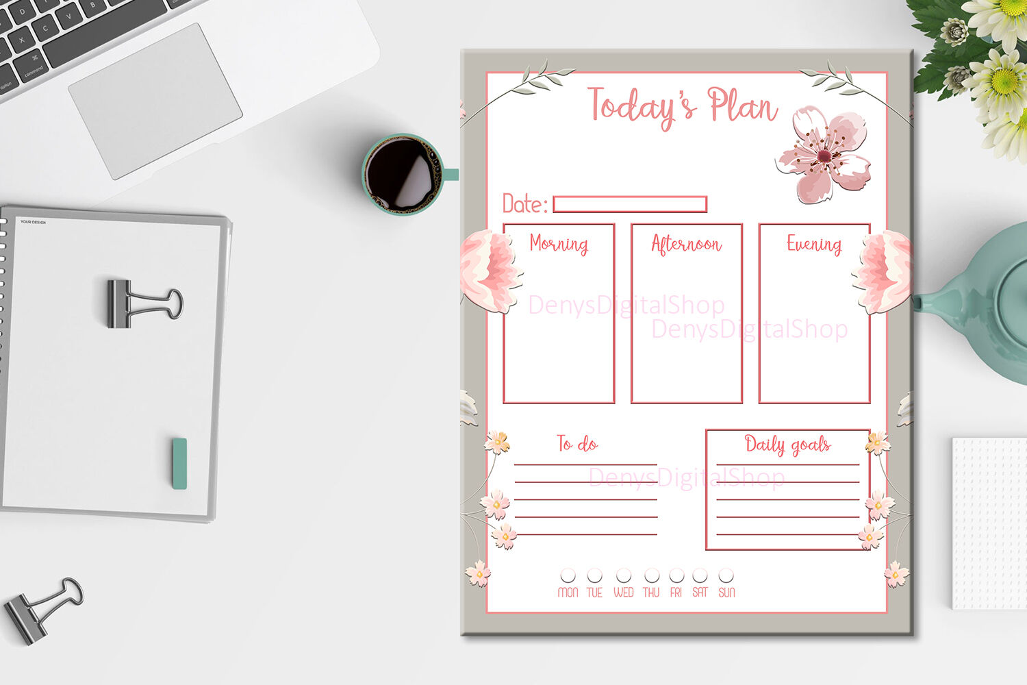 Daily Planner Minimalist Minimalistic Organize The Day By