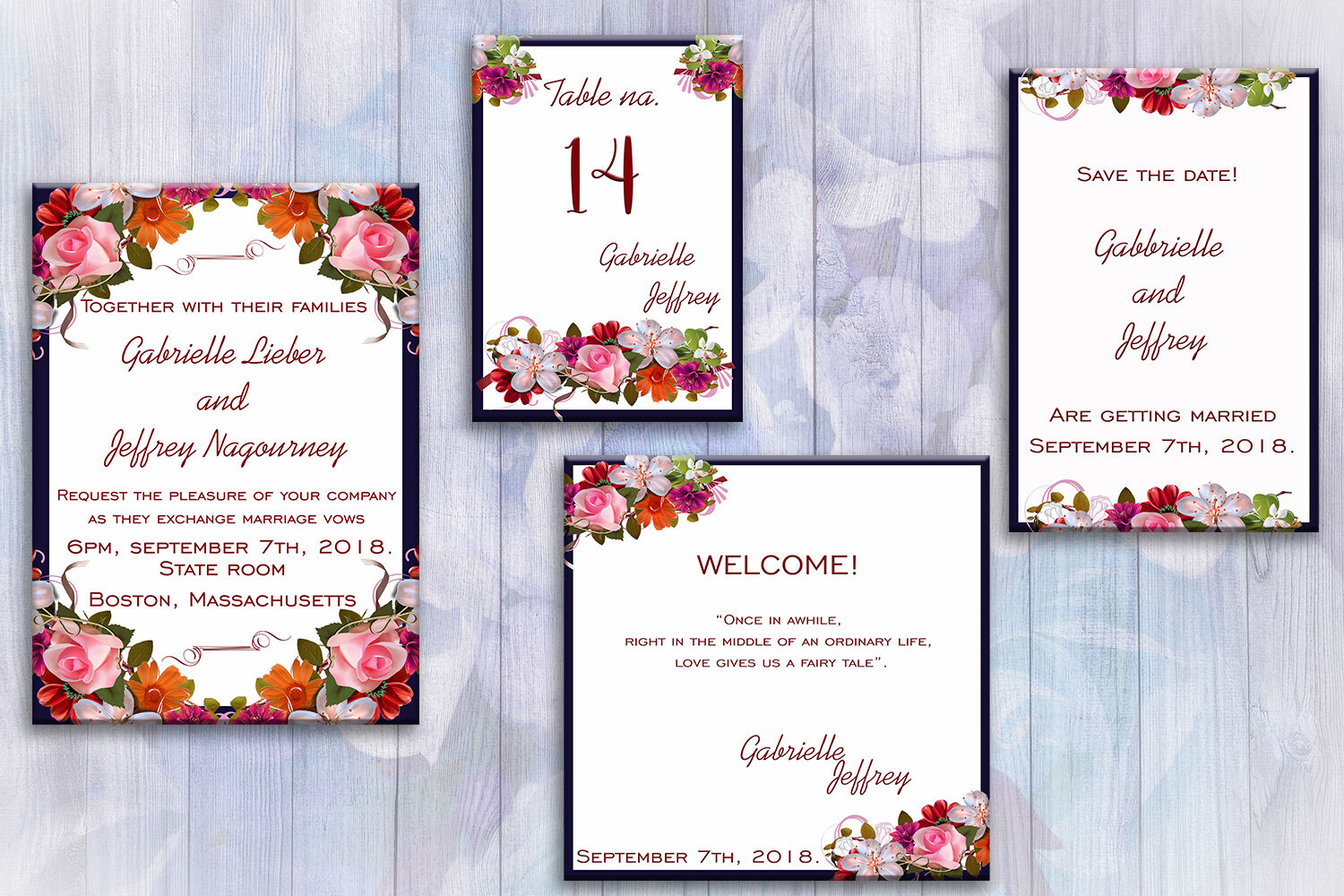 Flower Wedding Invitation Suite Invitation Cards By