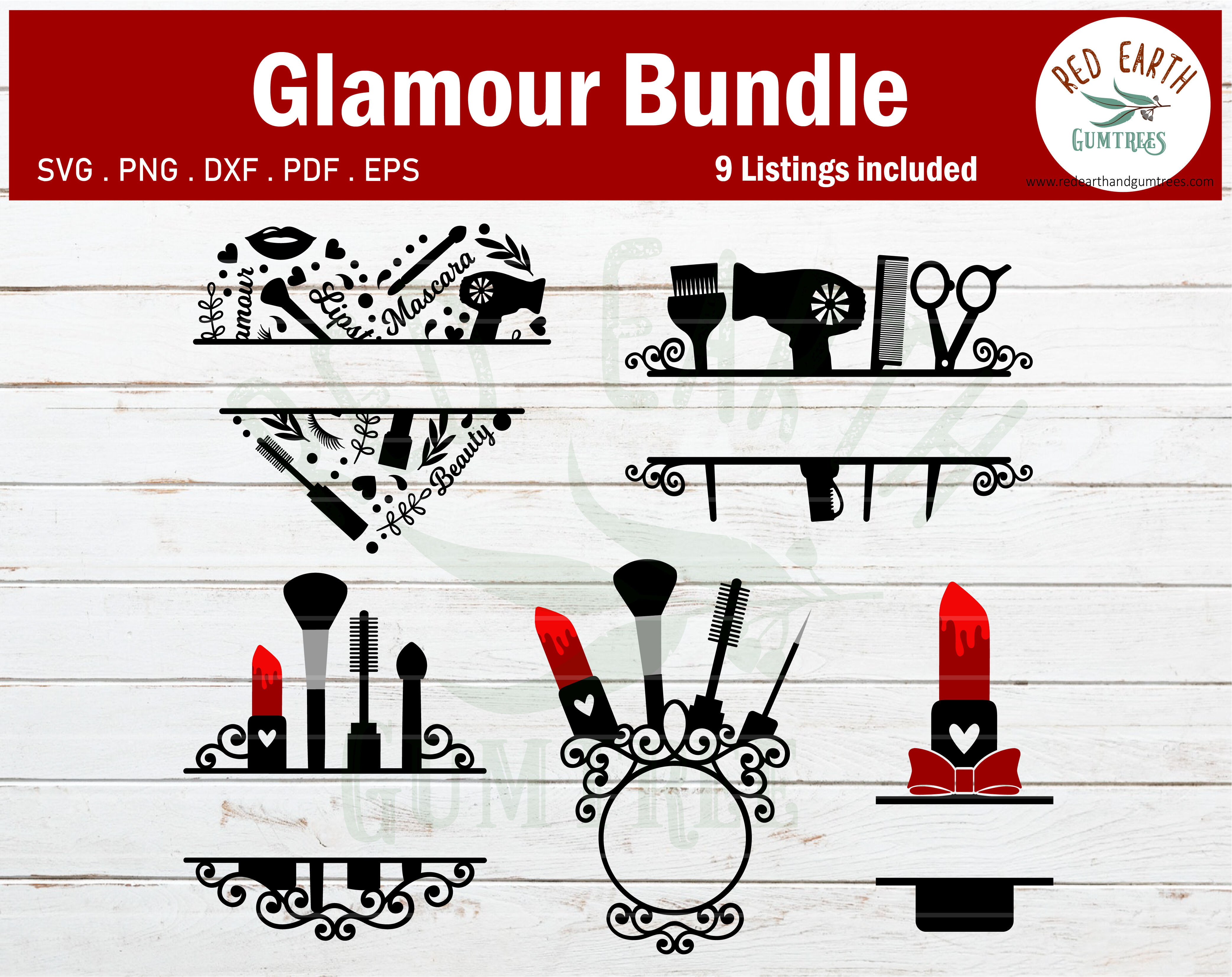 Makeup Glamour Monogram Frames Bundle Lipstick Svg Png Dxf Eps Pdf