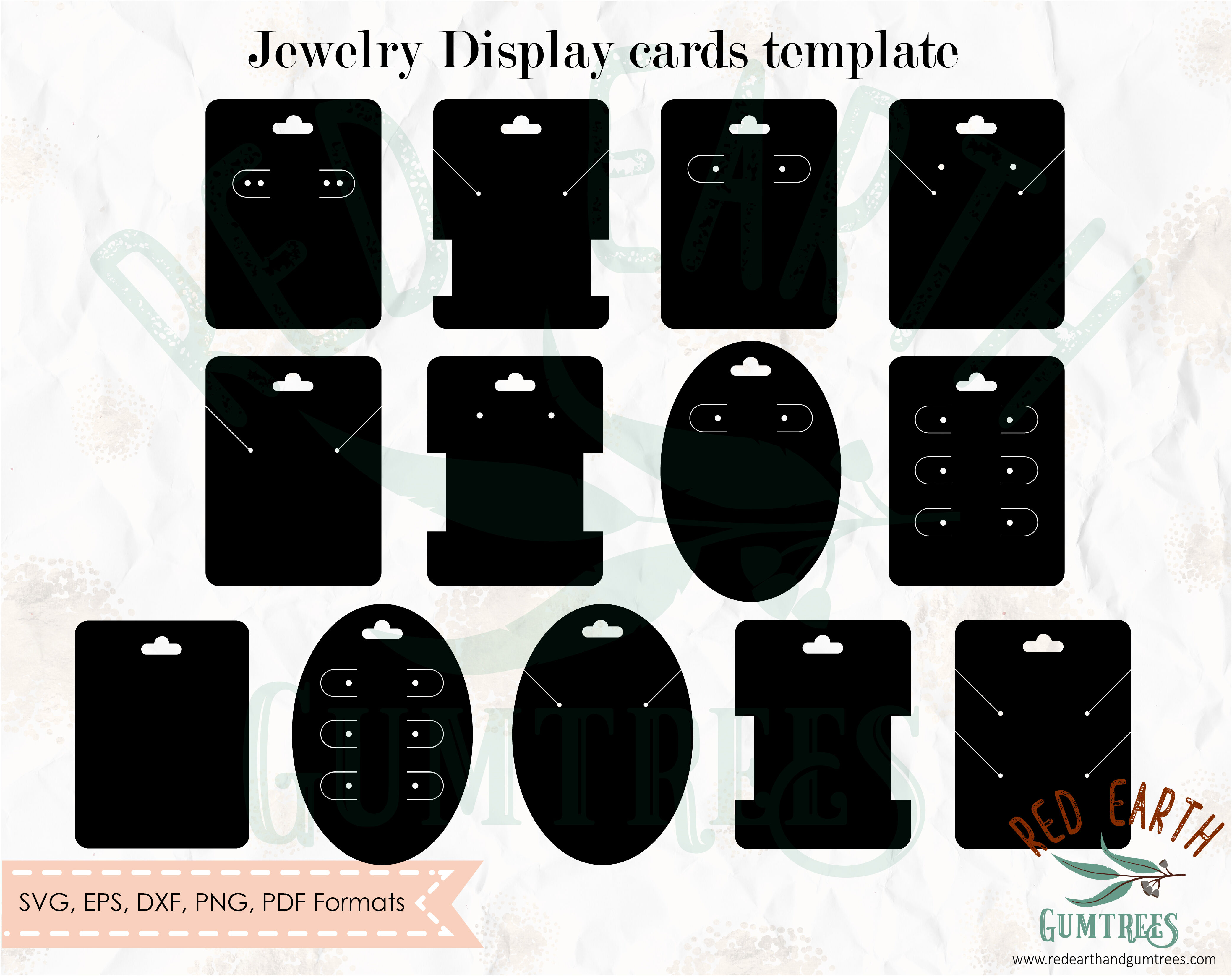 Jewelry Cards Template Bundle Svg Earring Display Card Svg