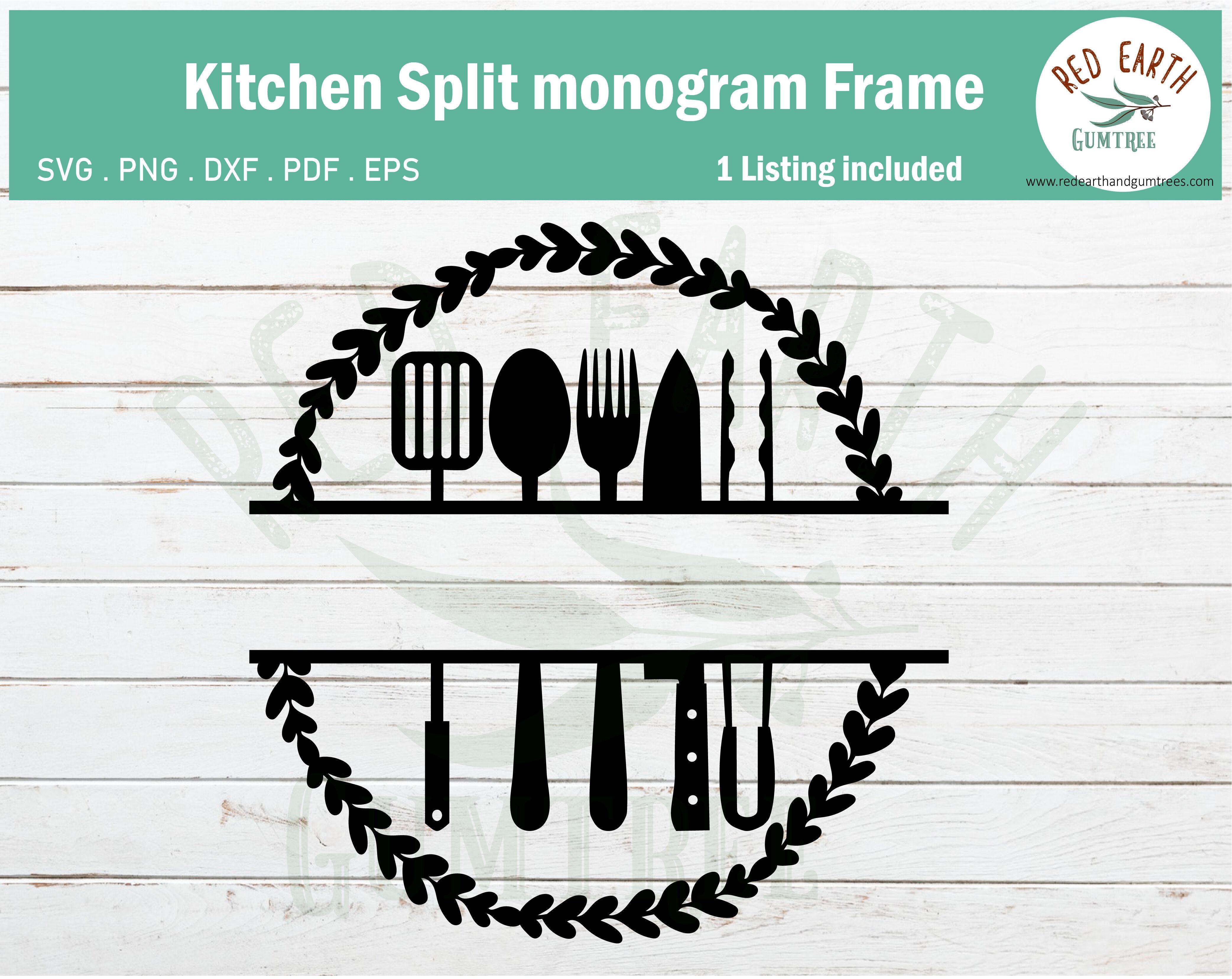 Rustic Kitchen Farmhouse Monogram Frame Svg Png Dxf Pdf Eps By