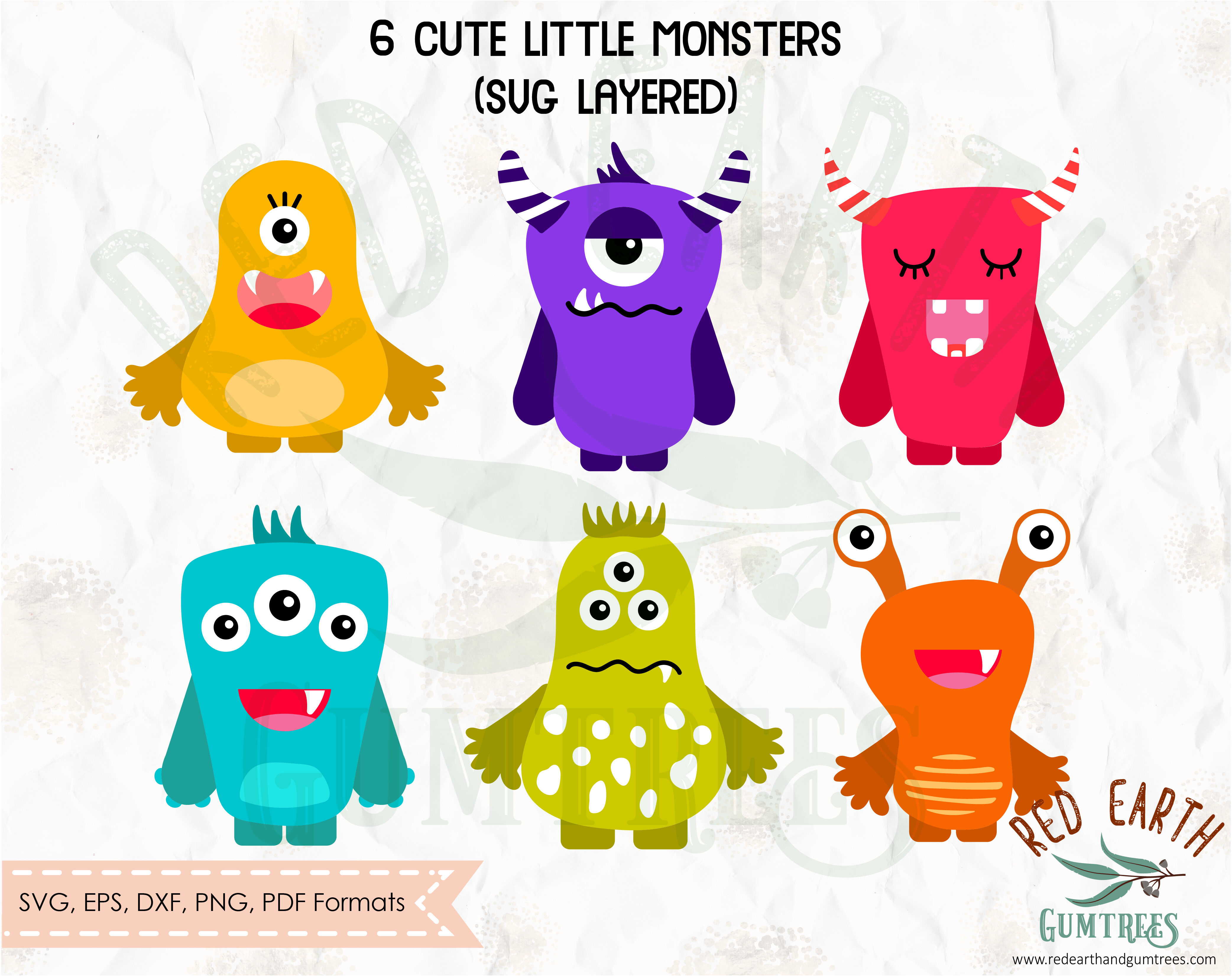 Cute Monsters Bundle Svg Png Dxf Pdf Eps By Svgbrewerydesigns