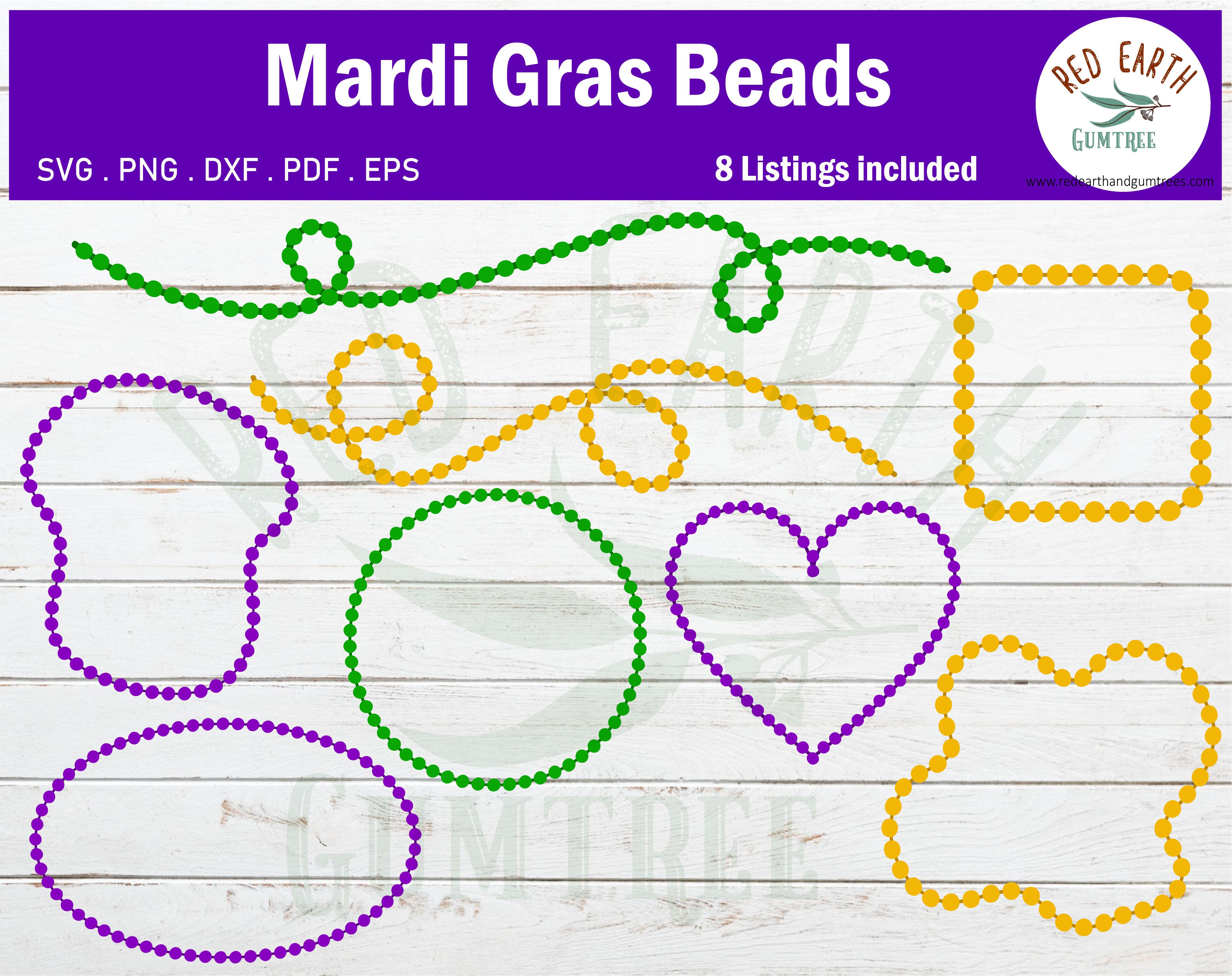 Mardi Gras Beadds Bundle Svg Carnival Beads Svg Png Dxf Pdf Eps