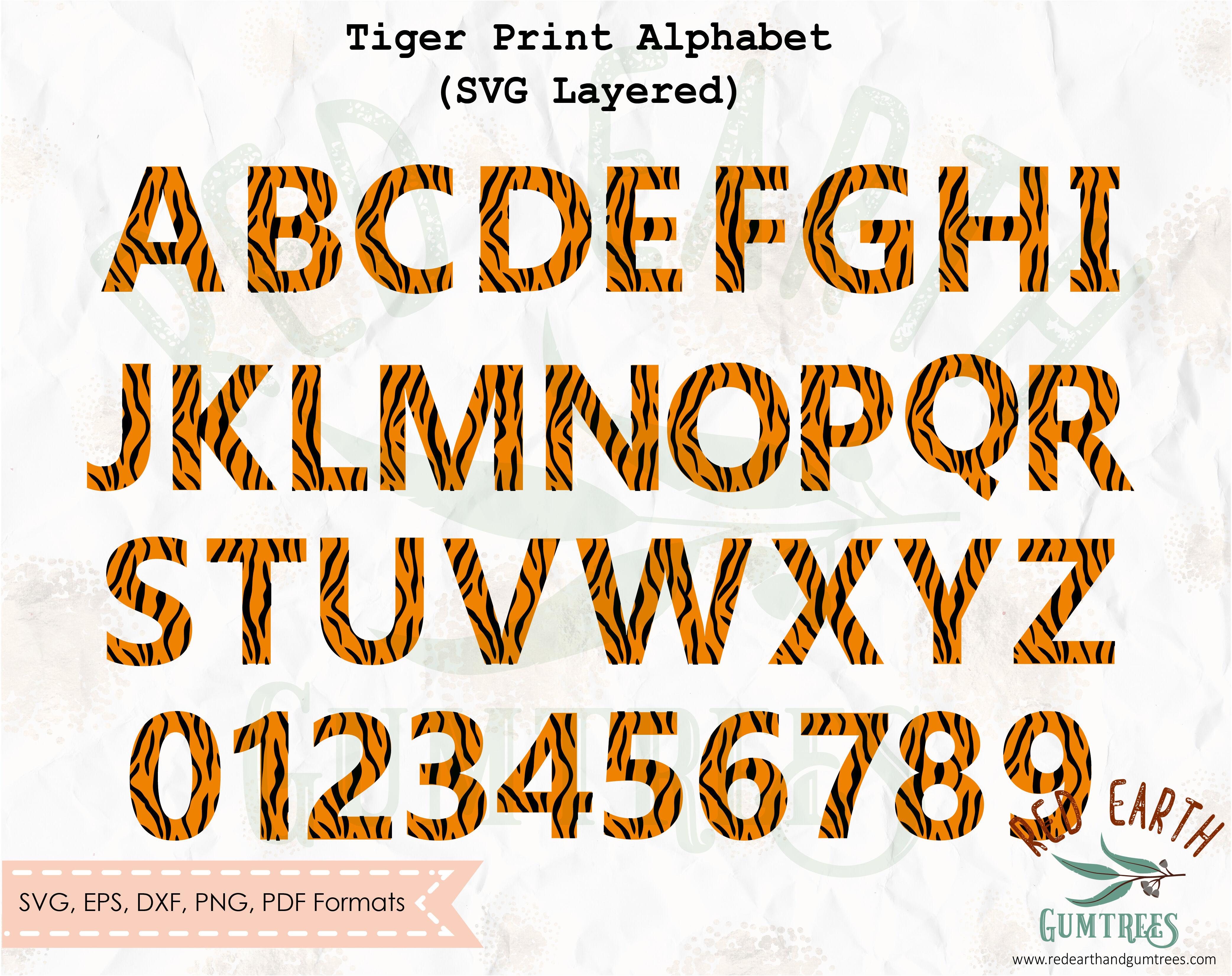 Tiger Print Letters Svg Safari Tiger Letters Alphabet Svg Png Dxf
