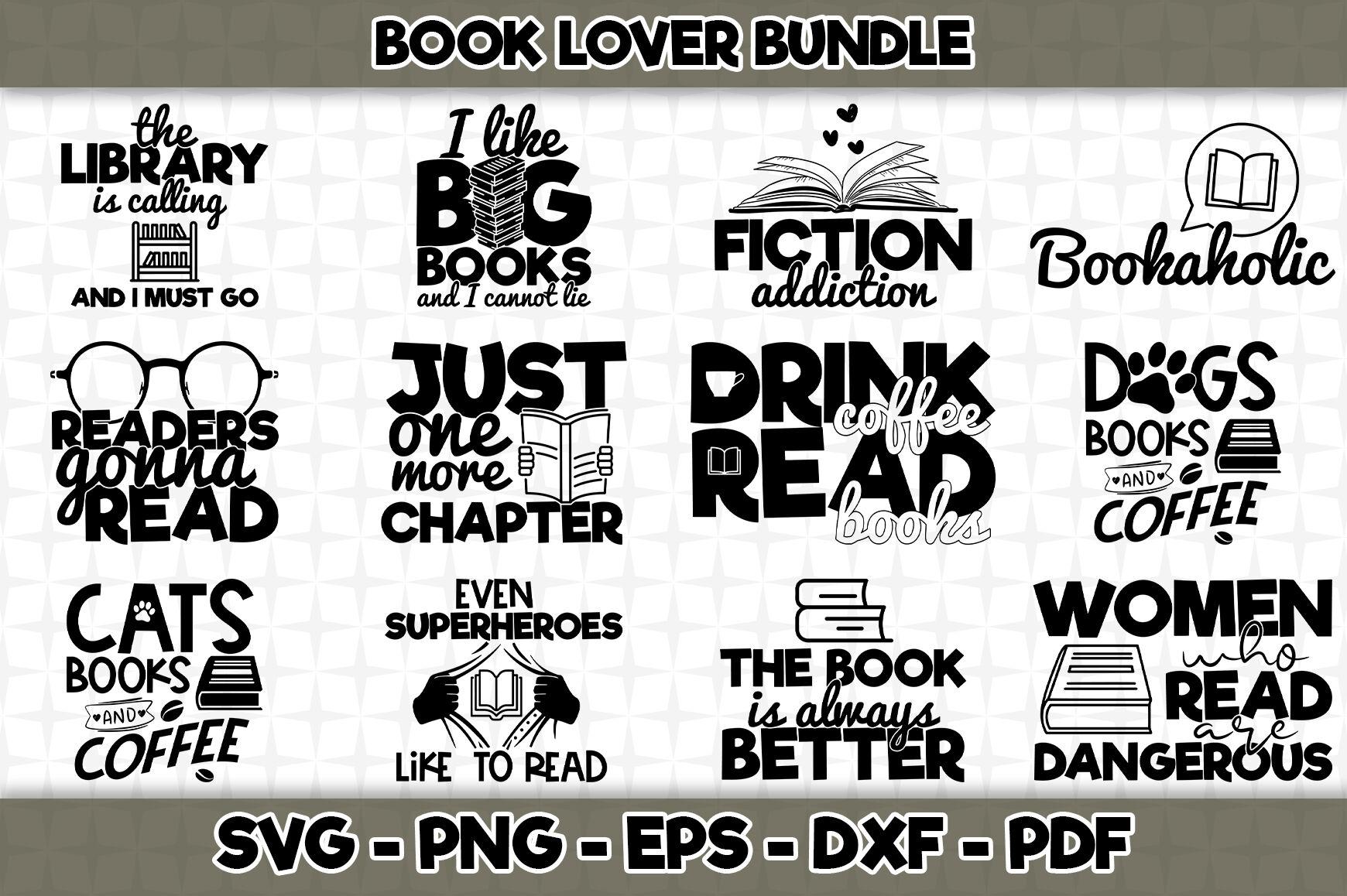 Book Lover Svg Bundle 12 Designs Included By Svgartsy