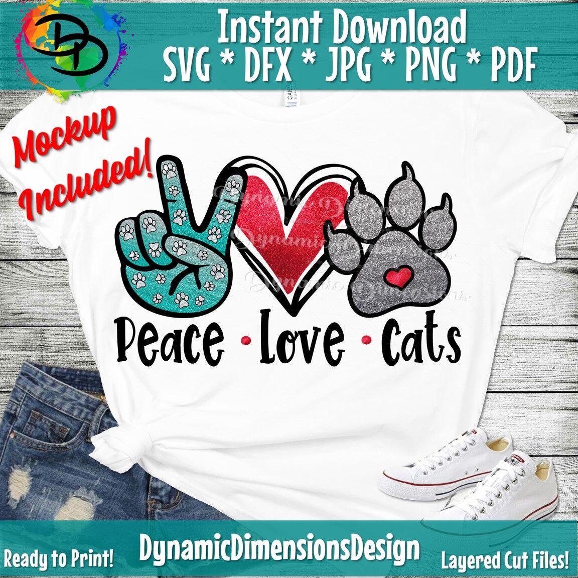 Peace Love Cats Cat Svg Cat Clipart Shapes Cat Clip Ar Cat Cut