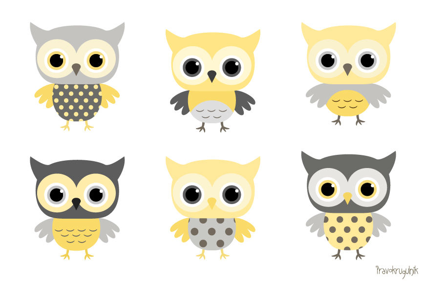 Baby boy owls clipart, Yellow and grey owl clip art set ...