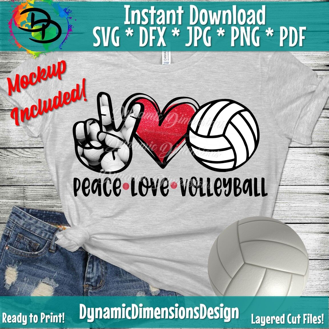 Peace Love Volleyball Svg Distressed Volleyball Svg Volleyball
