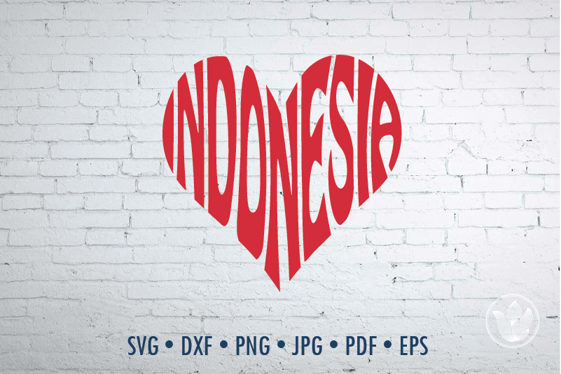 Indonesia Heart Svg Dxf Eps Png Jpg Cut File By Prettydd