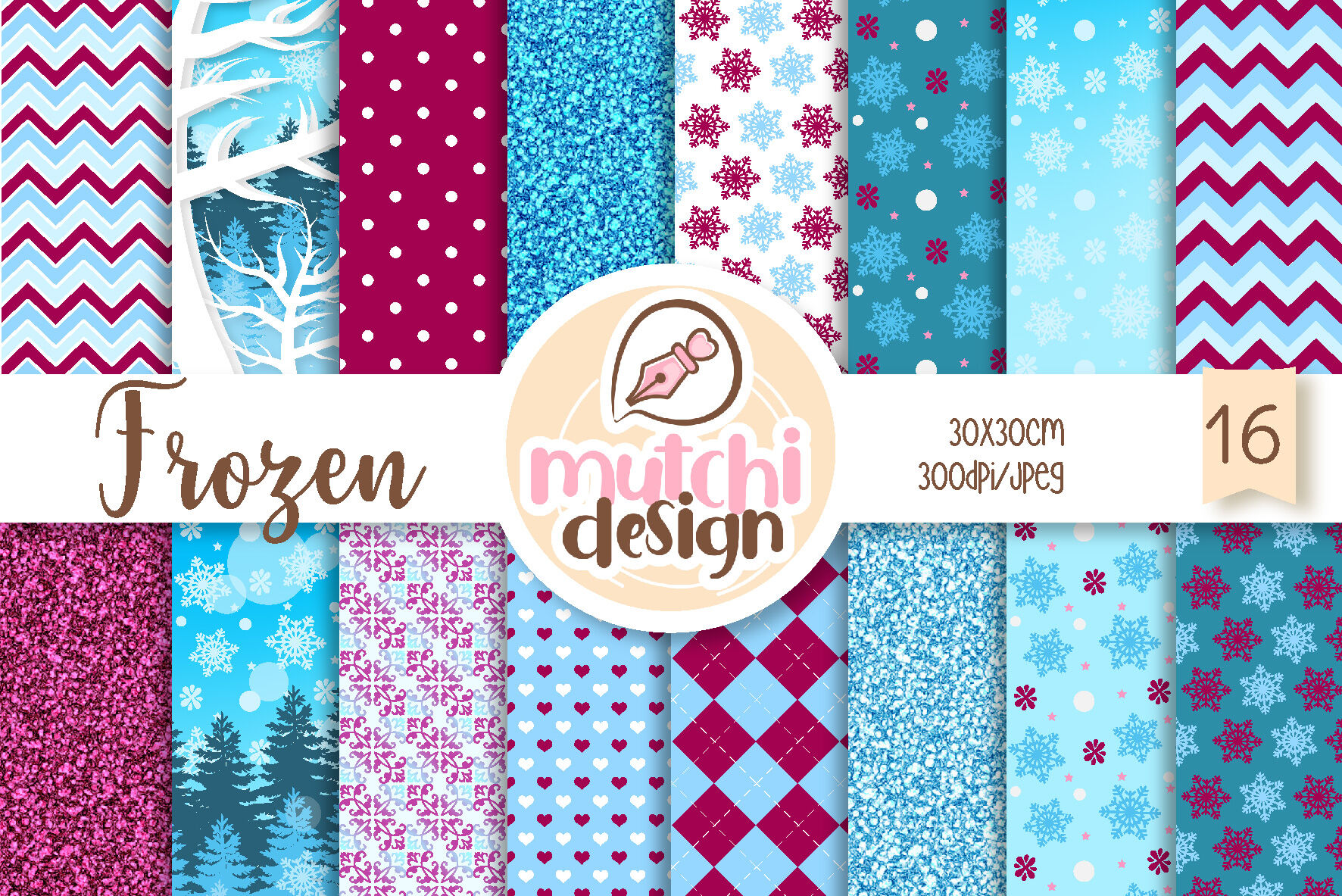 Frozen Digital Papers By Mutchidesign Thehungryjpeg Com