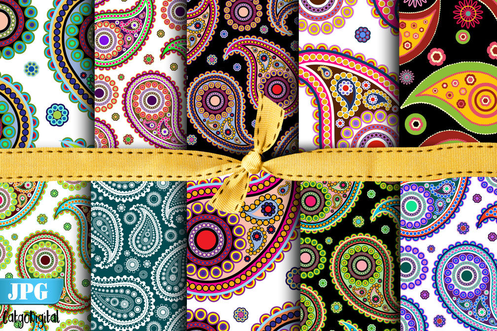 Paisley Digital Paper Paisley Pattern Scrapbooking By Catgodigital