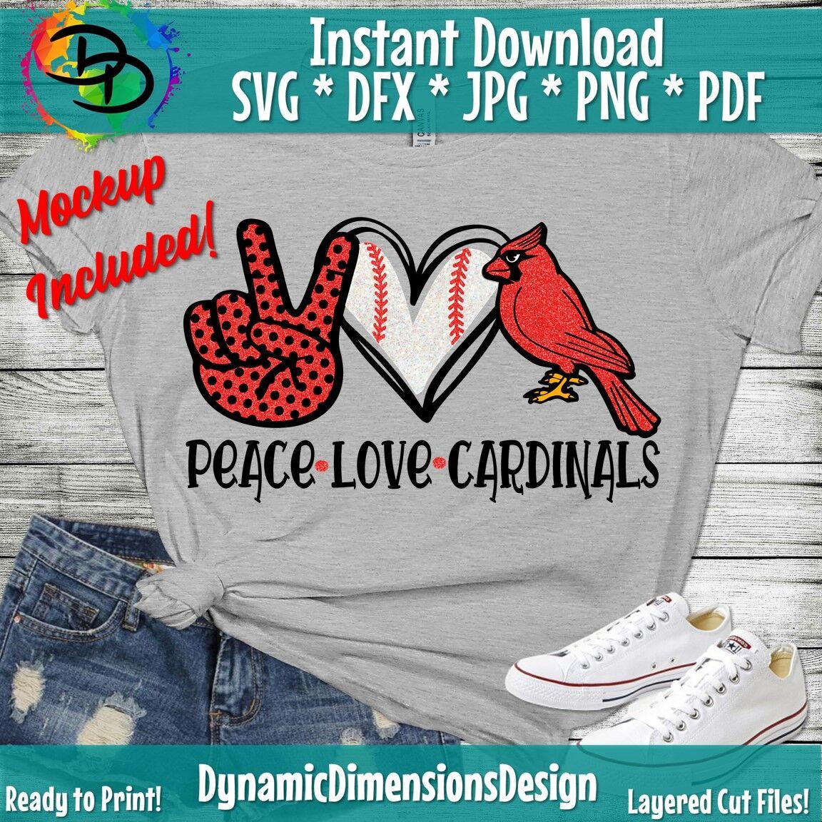 Peace Love Cardinals Svg Cardinals Team Svg Baseball Team Svg