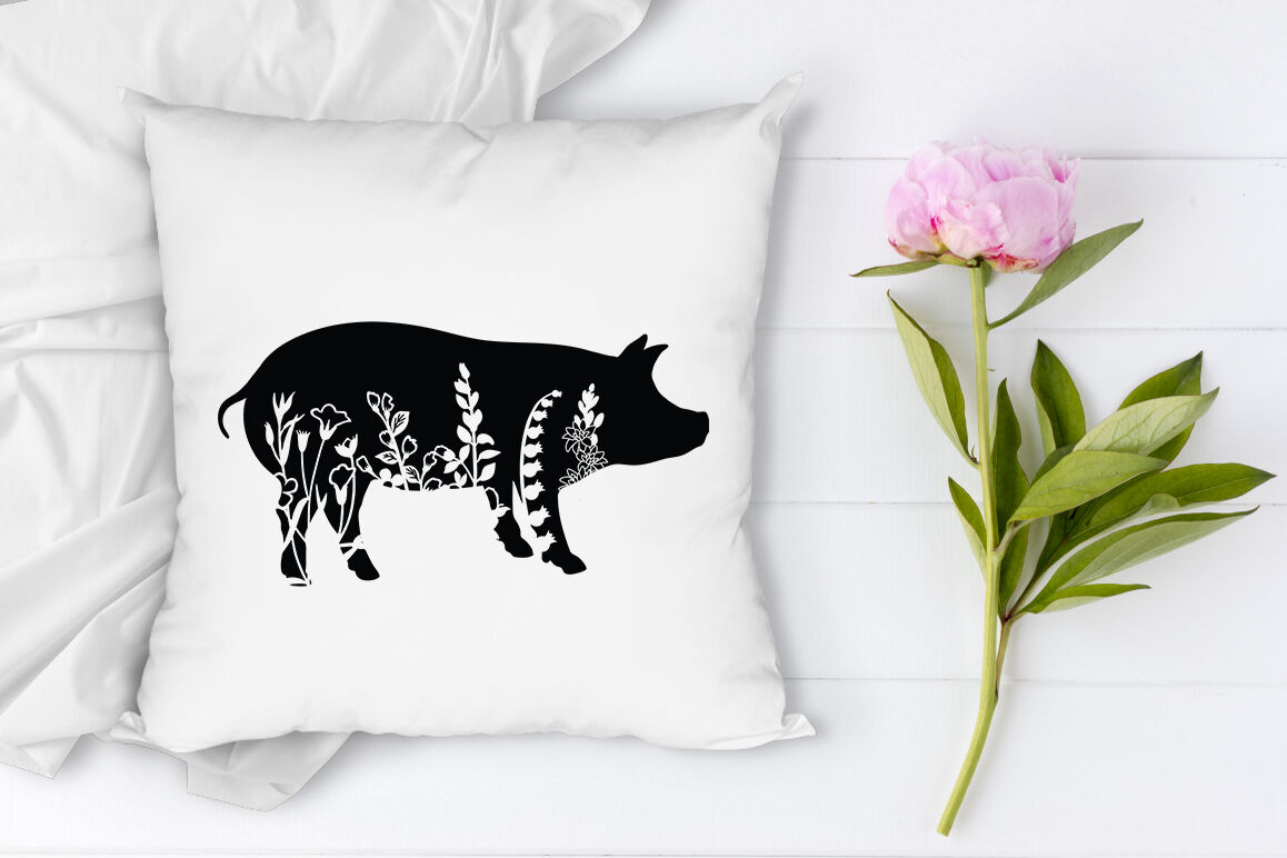Floral Pig Svg Cut Files Floral Pig Clipart By Doodle Cloud