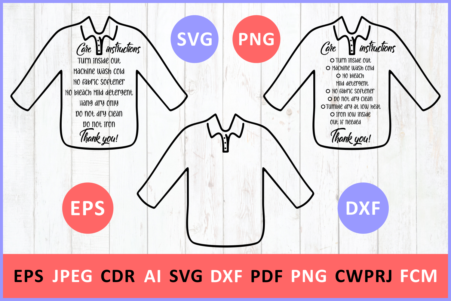 Care Instruction Longsleeve Polo Tshirt Svg By Zoya Miller Svg