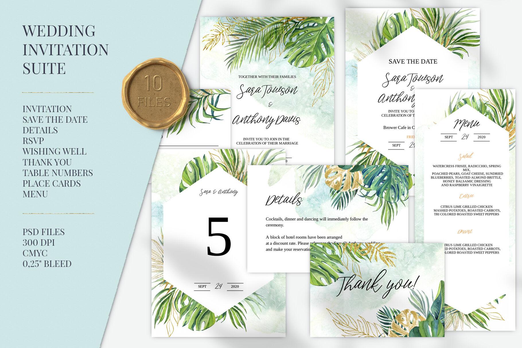 Green Tropic Wedding Invitation Set By Elena Dorosh