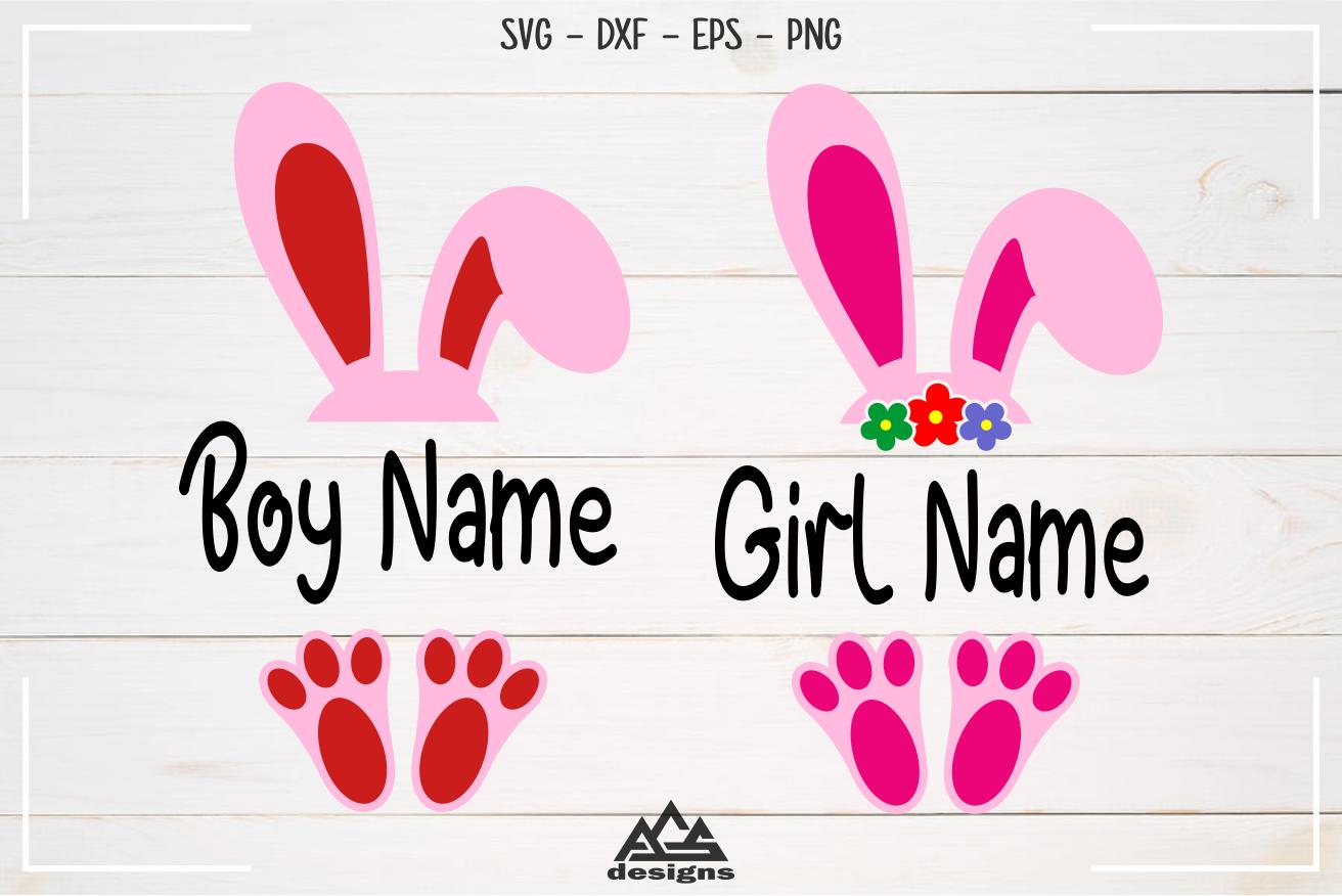 Easter Bunny Split Frame Svg Design By Agsdesign Thehungryjpeg Com