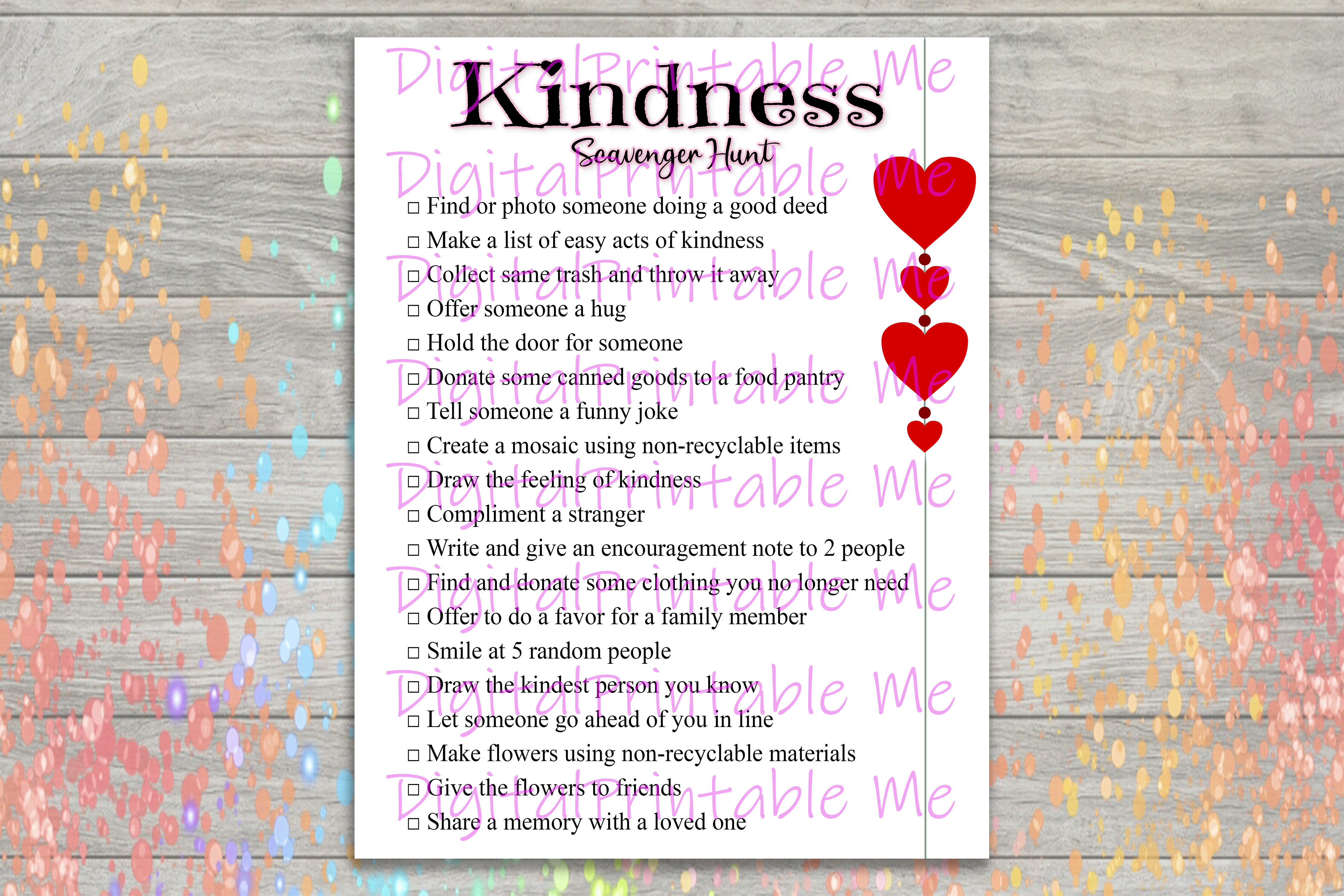 Kindness Scavenger Hunt Printable Kids Activity Game Download