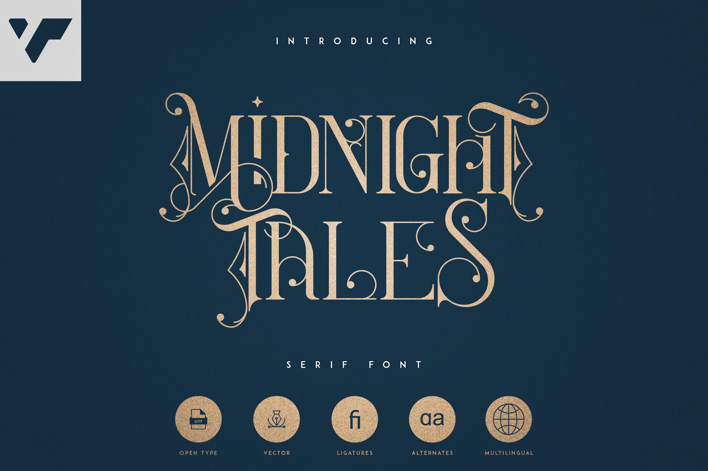 Midnight Tales Vintage Font By Vpcreativeshop Thehungryjpeg Com