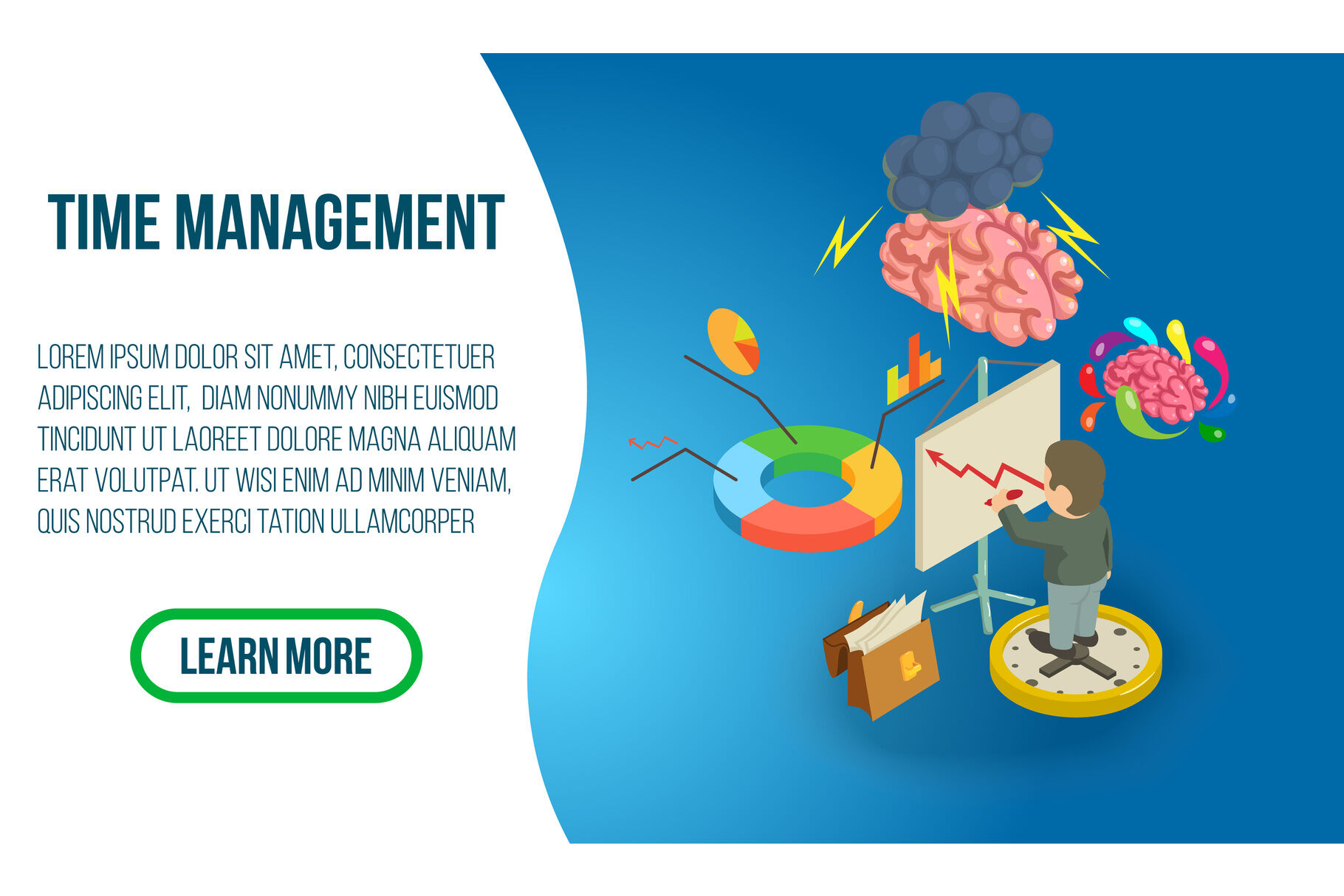 Time Management Concept Banner Isometric Style By Ylivdesign Thehungryjpeg Com