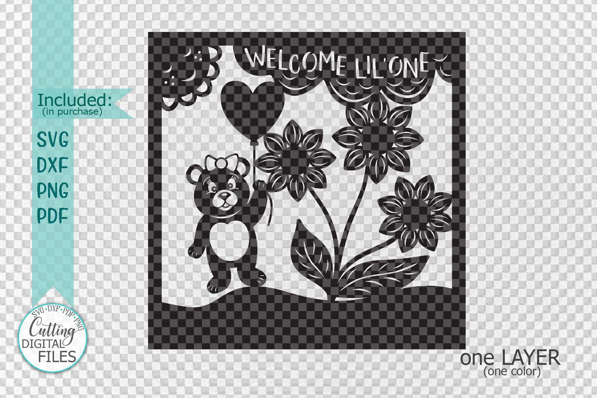 Baby Birth Announcement Card Paper Cut Laser Cut Template By