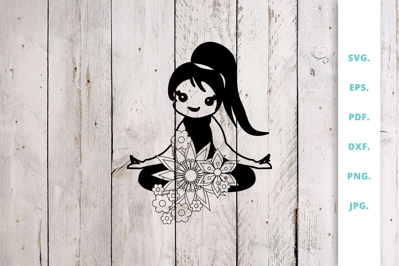 Floral Cute Yoga Girl Cut File 5 By Sintegra Thehungryjpeg Com