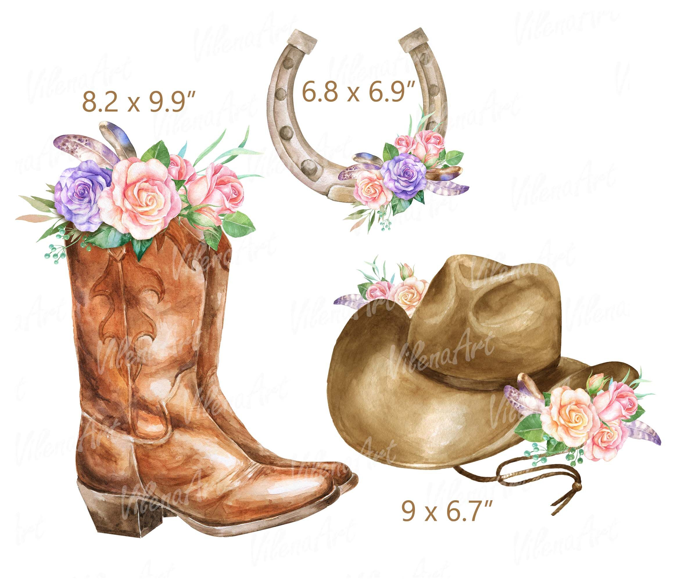 Watercolor Cowboy clipart Rustic Country wedding clip art ...