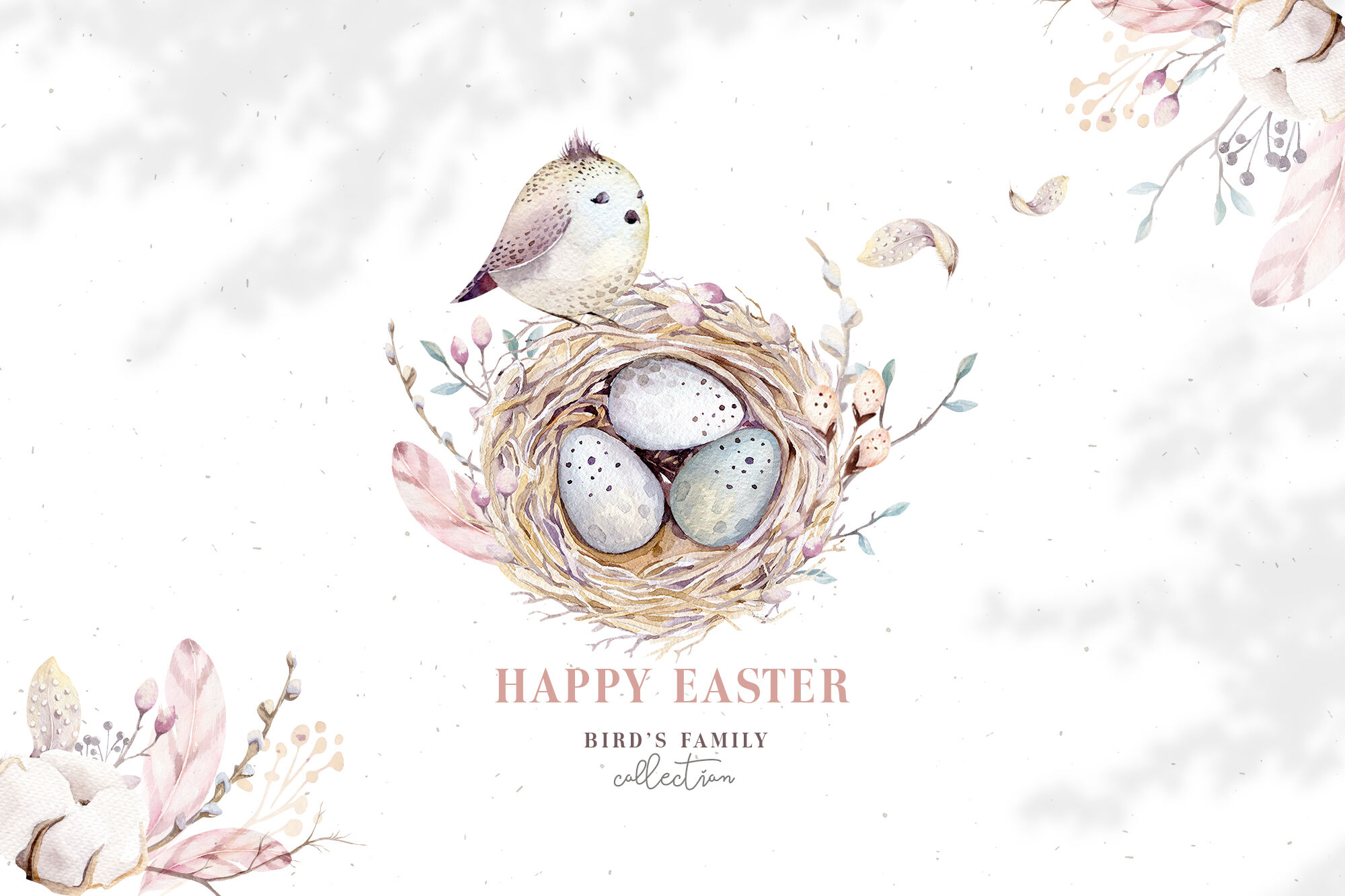 Watercolor Happy Easter Birds Amp Nest By Peace Shop