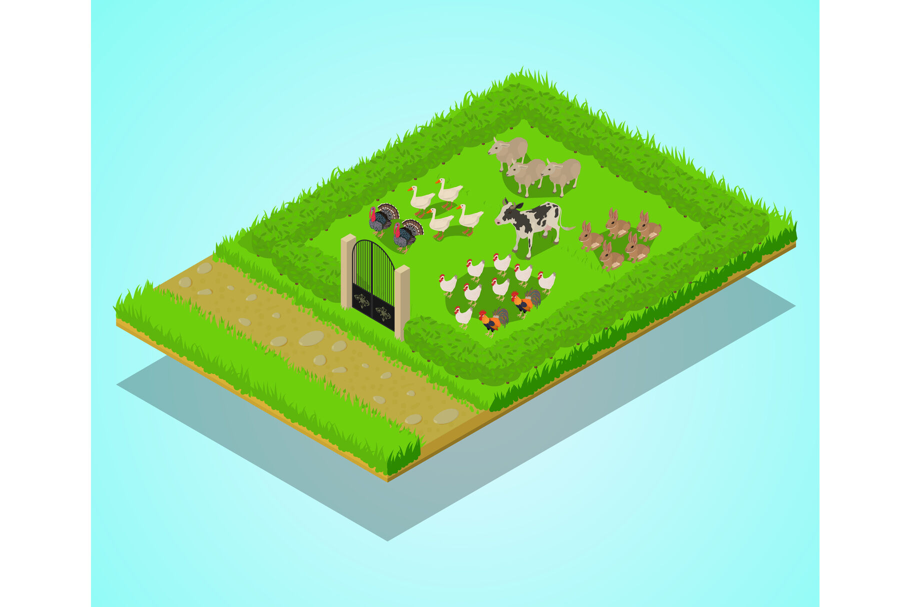 Livestock Concept Banner Isometric Style By Ylivdesign Thehungryjpeg Com