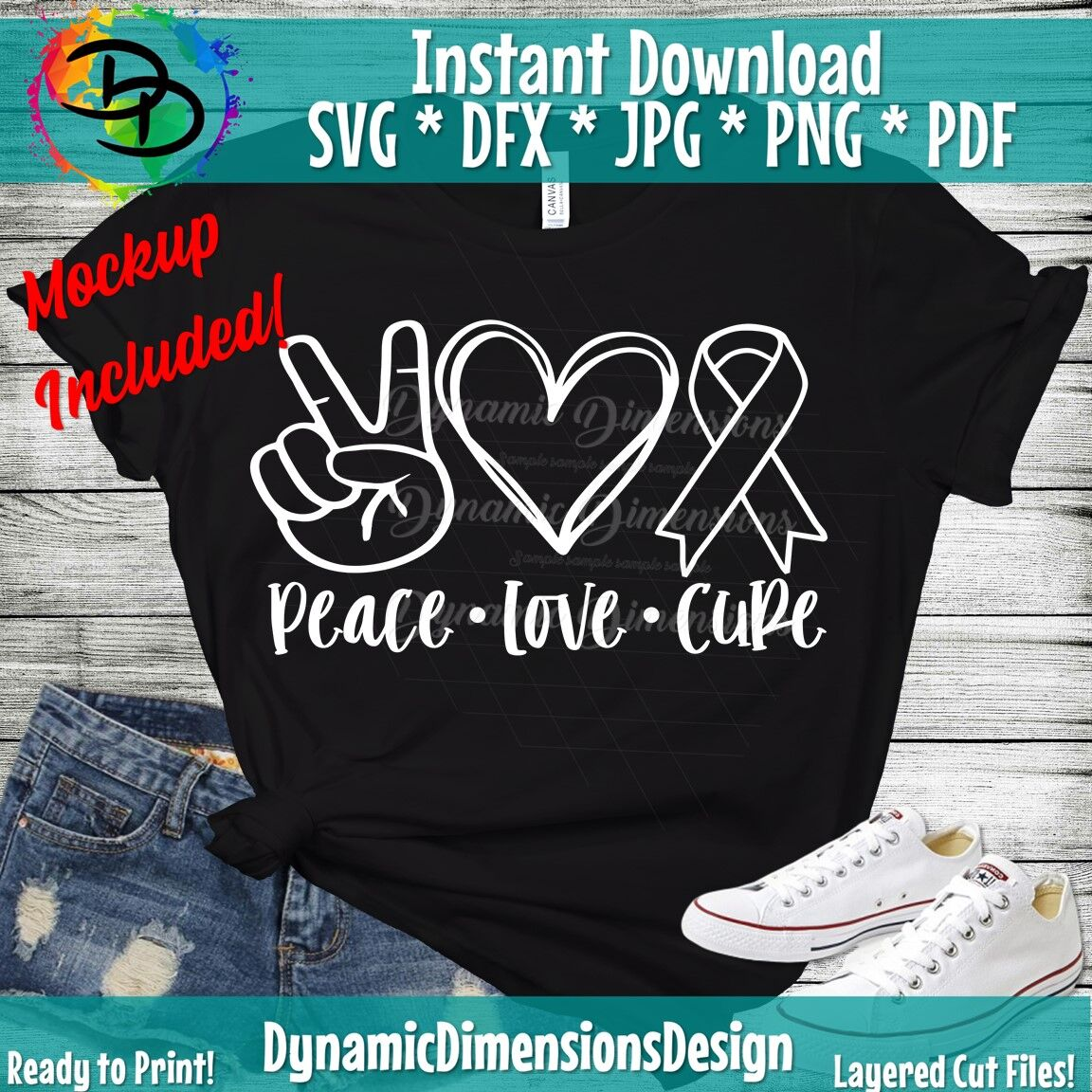 Peace Love Cure Svg Awareness Ribbon Svg Cancer Ribbon Cancer