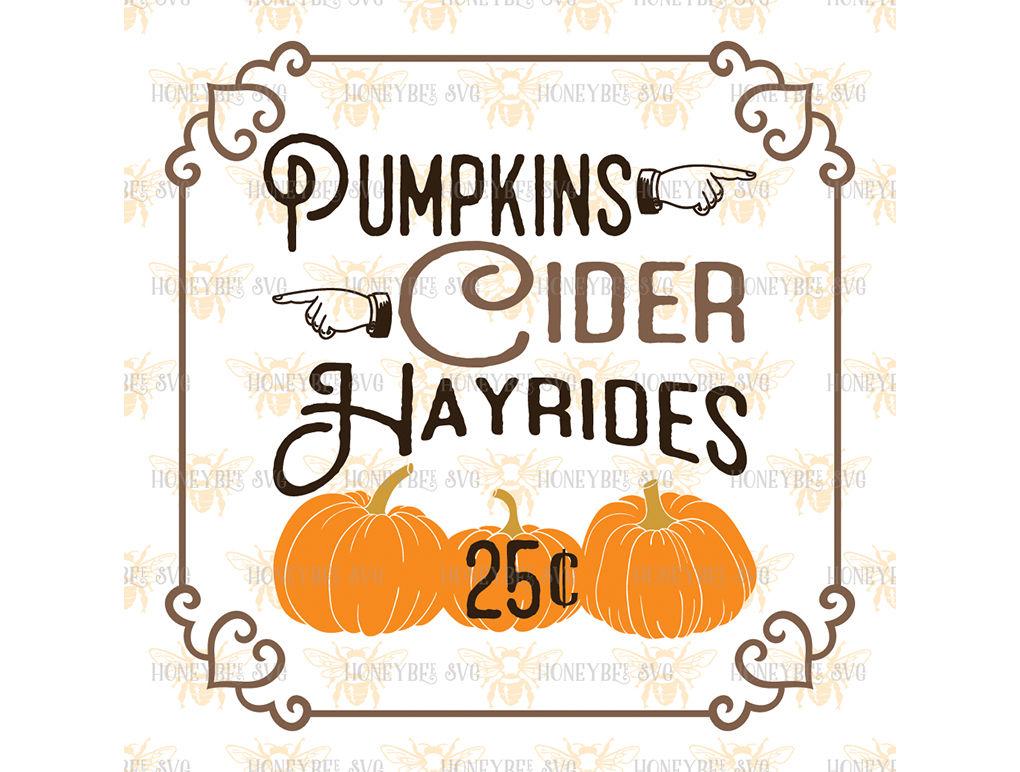 Pumpkins Cider Hayrides By Honeybee Svg Thehungryjpeg Com