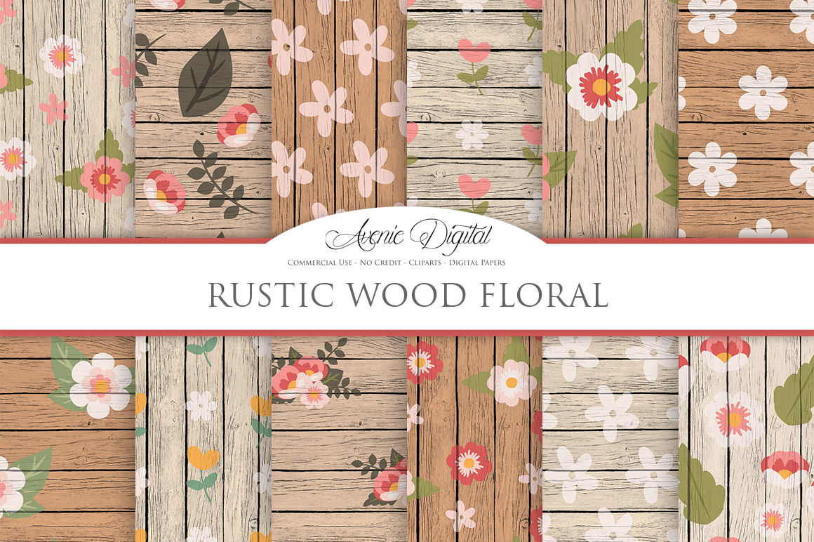 Rustic Wood Floral Backgrounds By Aveniedigital Thehungryjpeg Com
