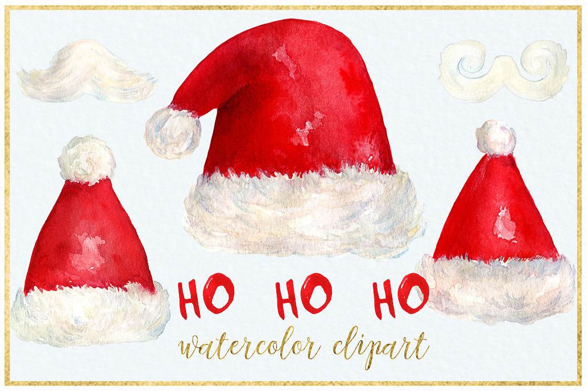 Santa Hat Christmas Watercolor Clipart By Labfcreations