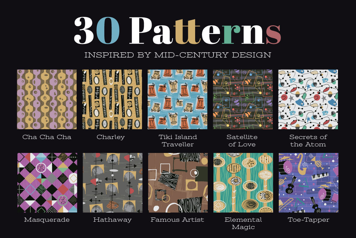 1950s Patterns Collection By Wingsart Thehungryjpeg Com