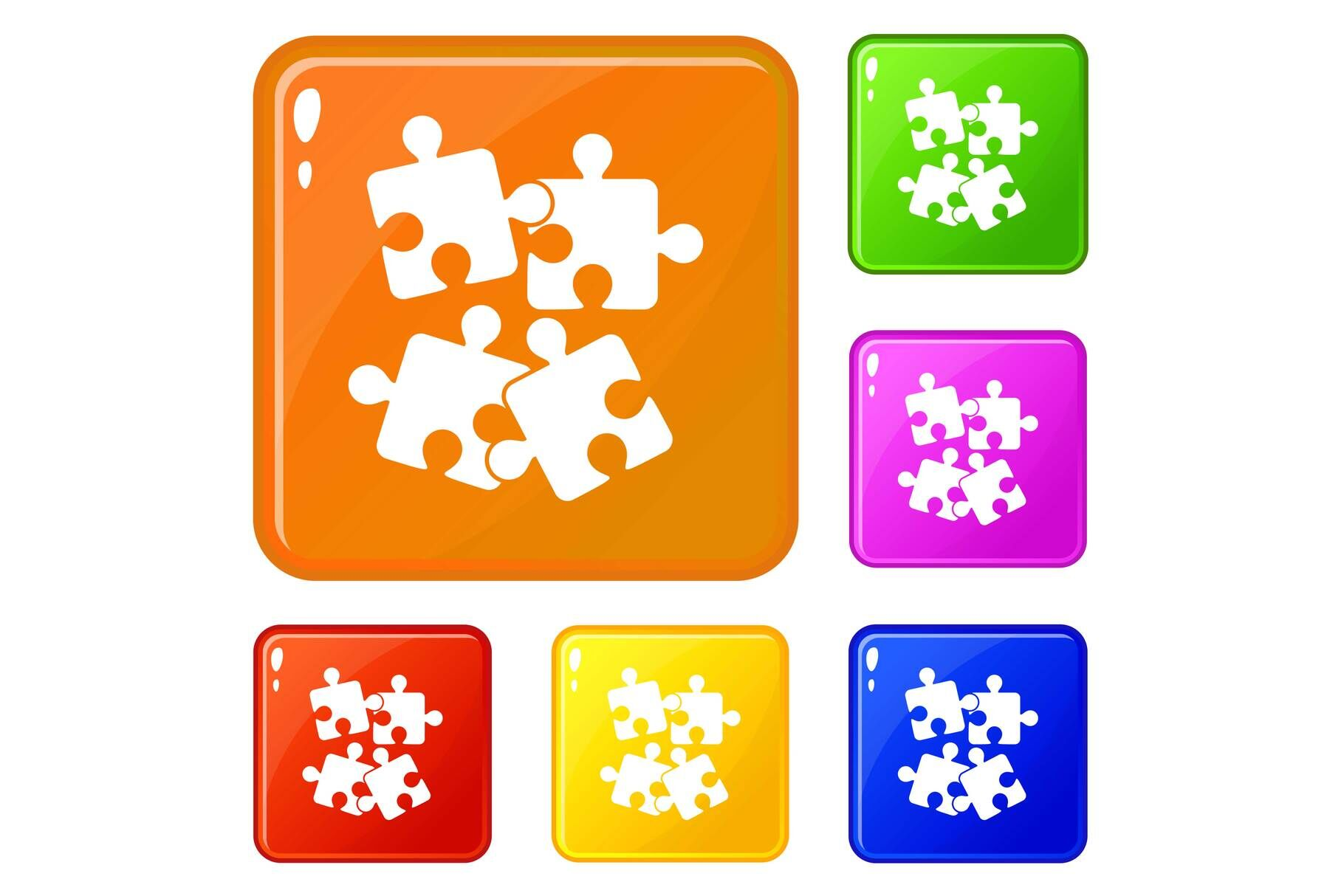Jigsaw Puzzles Icons Set Vector Color By Ylivdesign