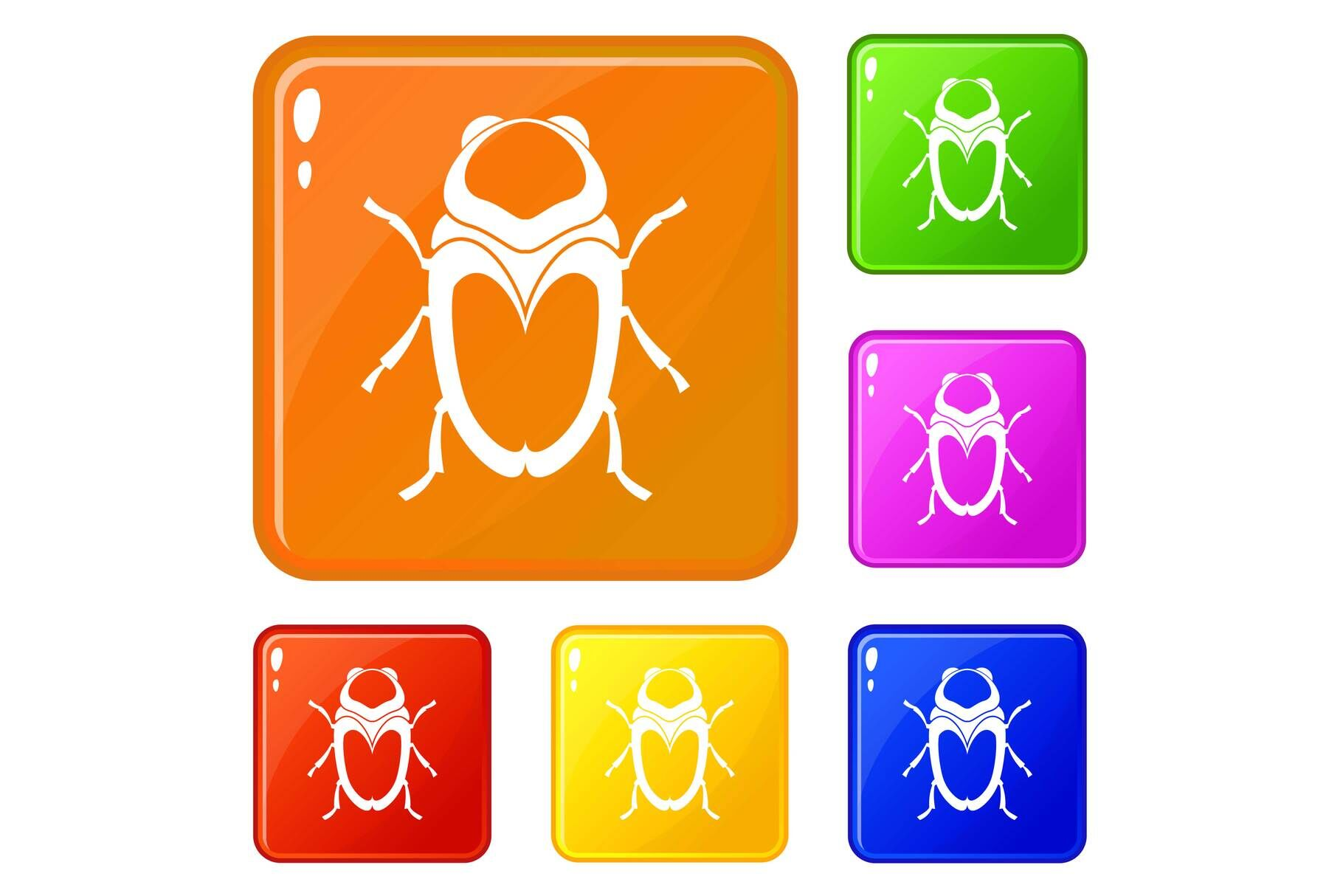 Scarab Beetle Icons Set Vector Color By Ylivdesign Thehungryjpeg Com