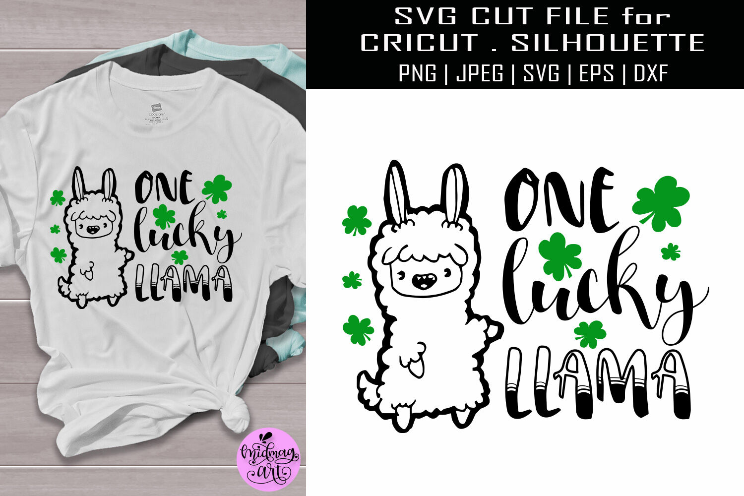 One Lucky Llama Svg St Patricks Day Shirt Svg By Midmagart