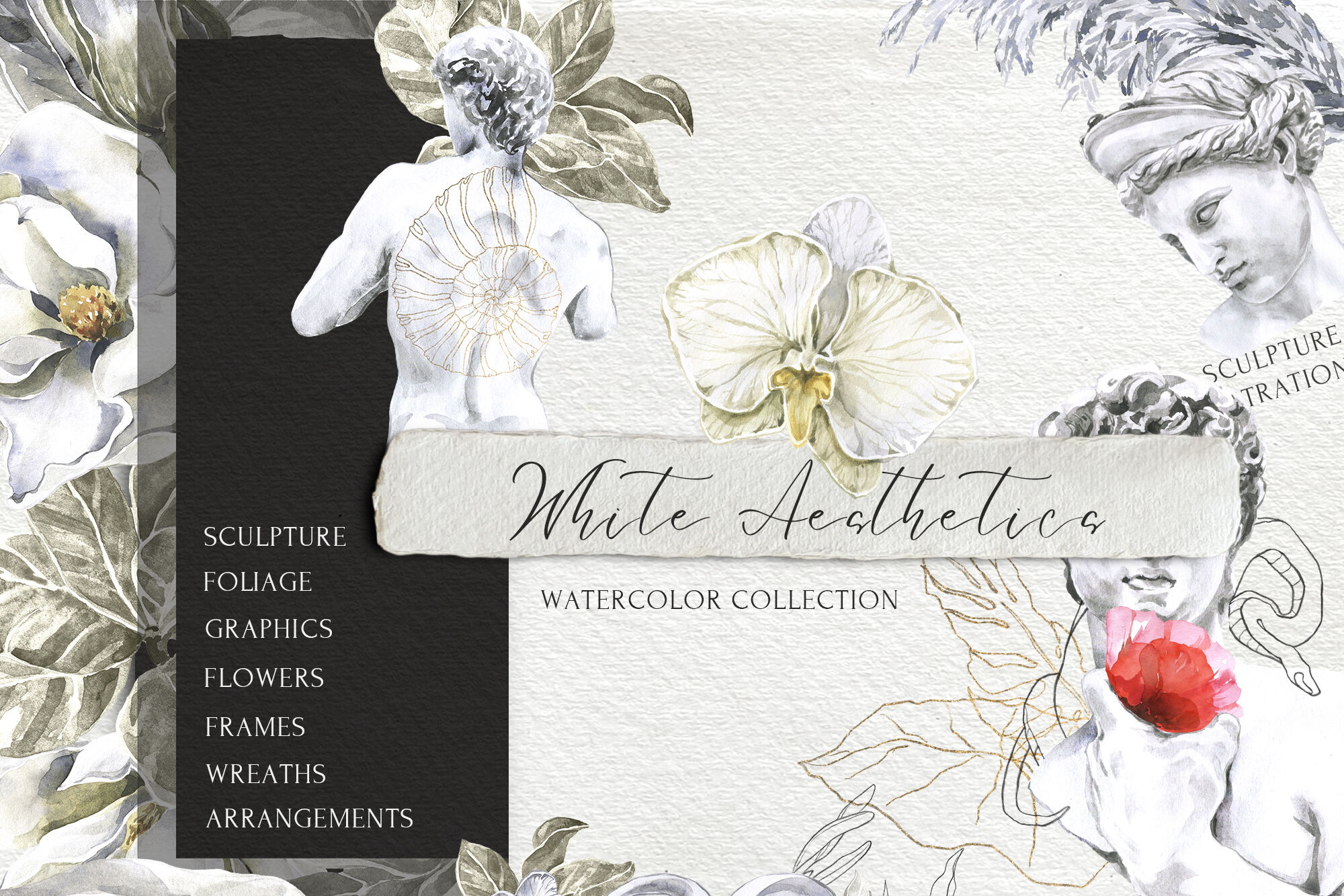 White Aesthetics Watercolor Collection By Cat In Colour